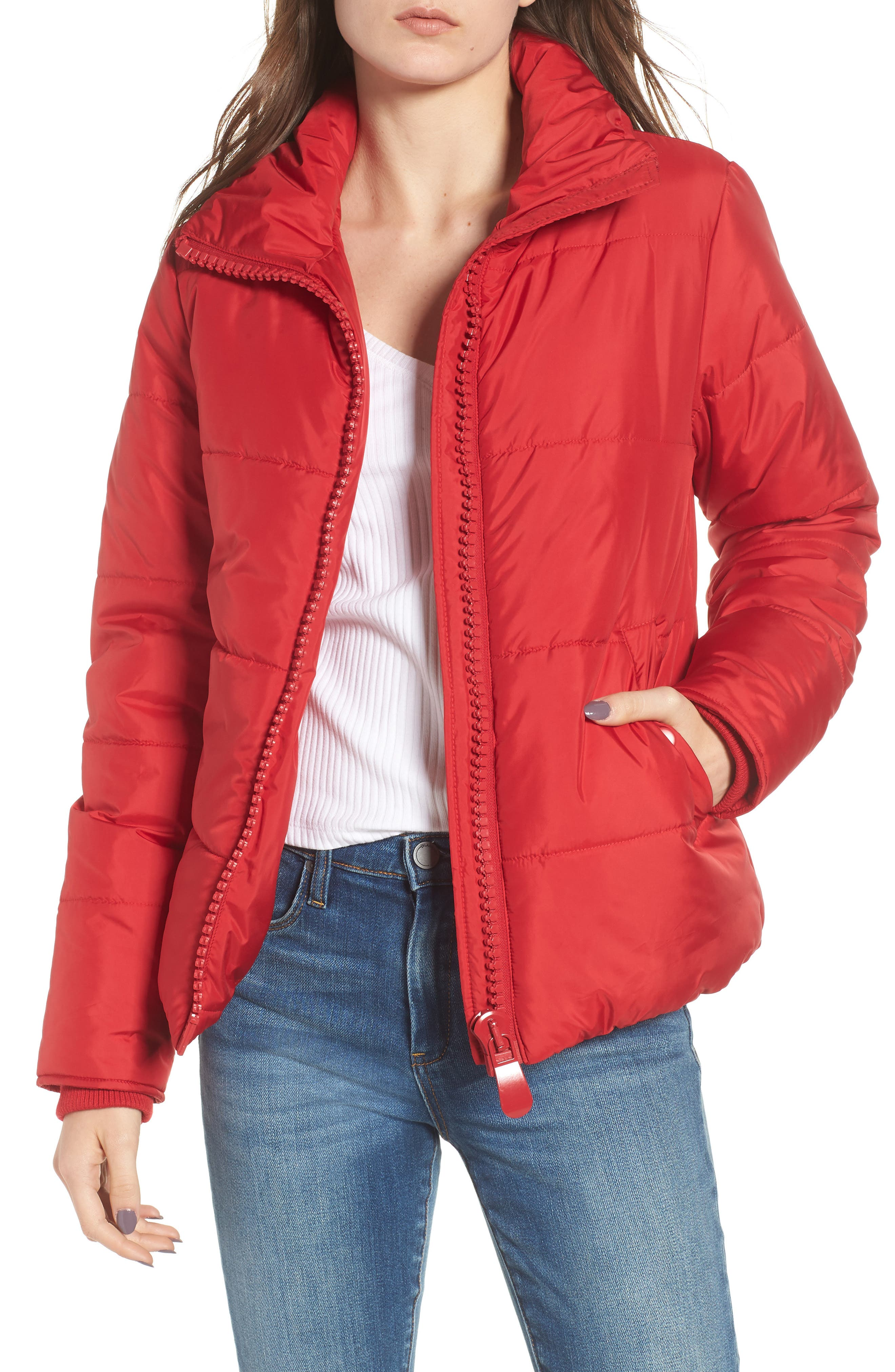 Rail Quilted Puffer Jacket,                         Main,                         color, SPICE RED