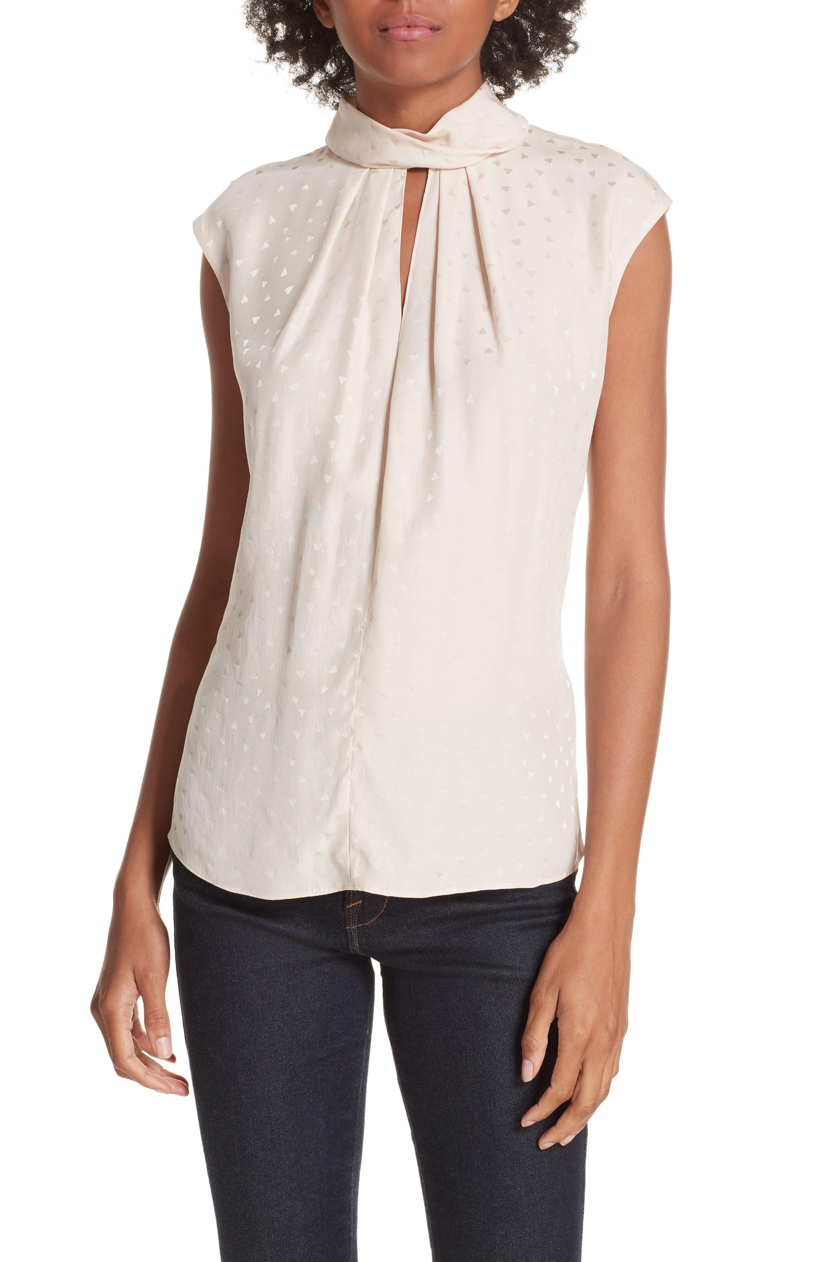 Sleeveless Silk Jacquard Top,                         Main,                         color, PARFAIT