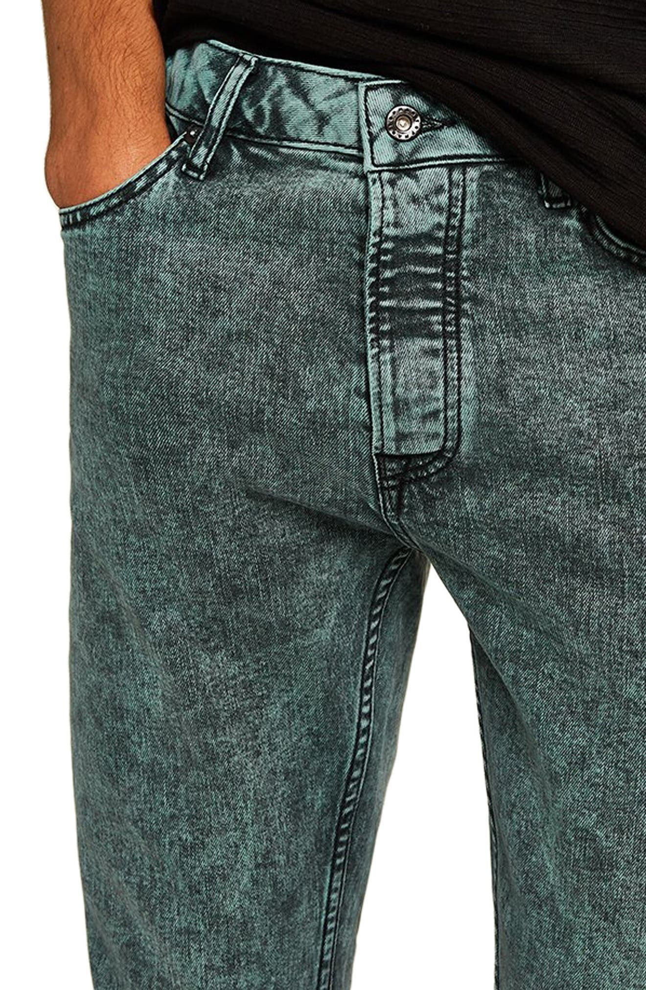 Acid Wash Stretch Skinny Jeans,                             Alternate thumbnail 3, color,                             BLUE/GREEN MULTI