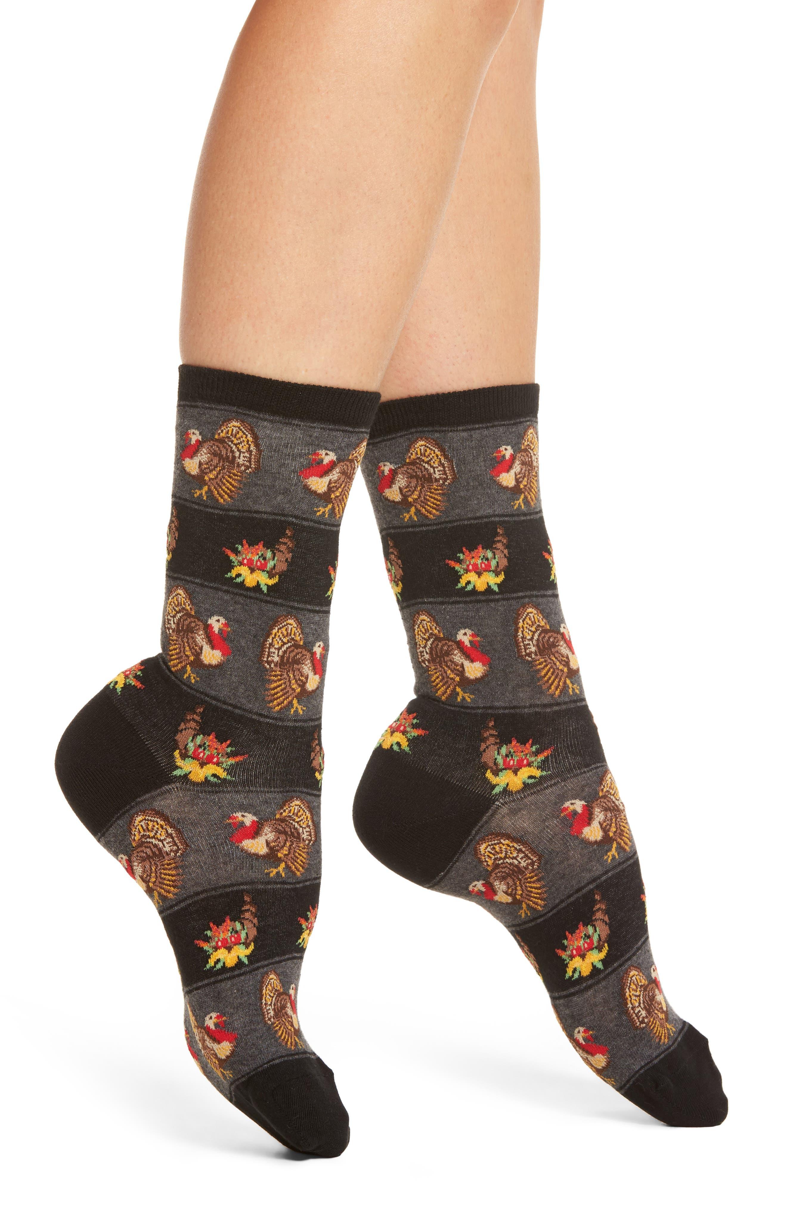 Thanksgiving Crew Socks,                             Main thumbnail 1, color,                             001