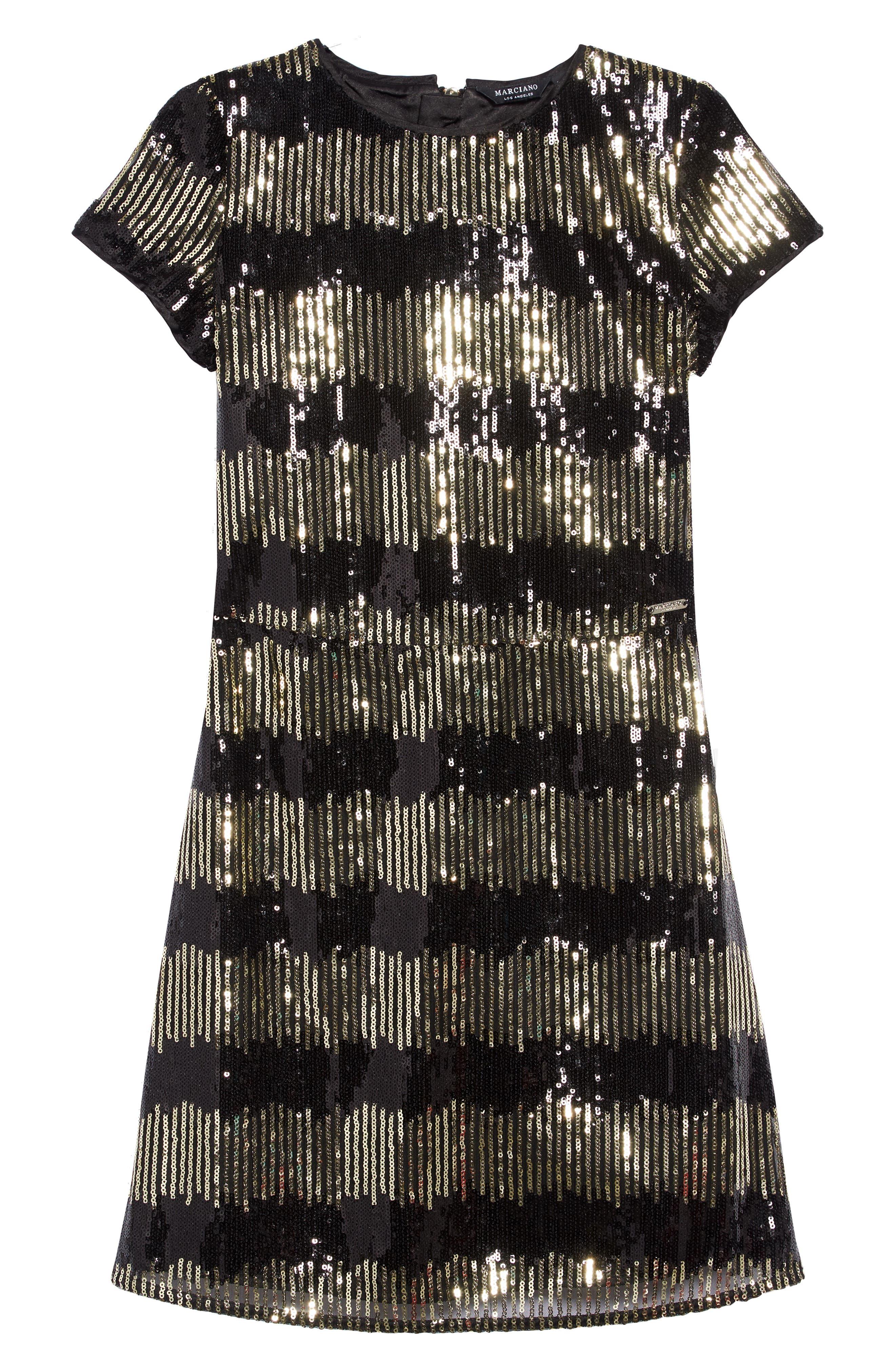 Sequin Stripe Shift Dress,                             Main thumbnail 1, color,                             METALLIC GOLD