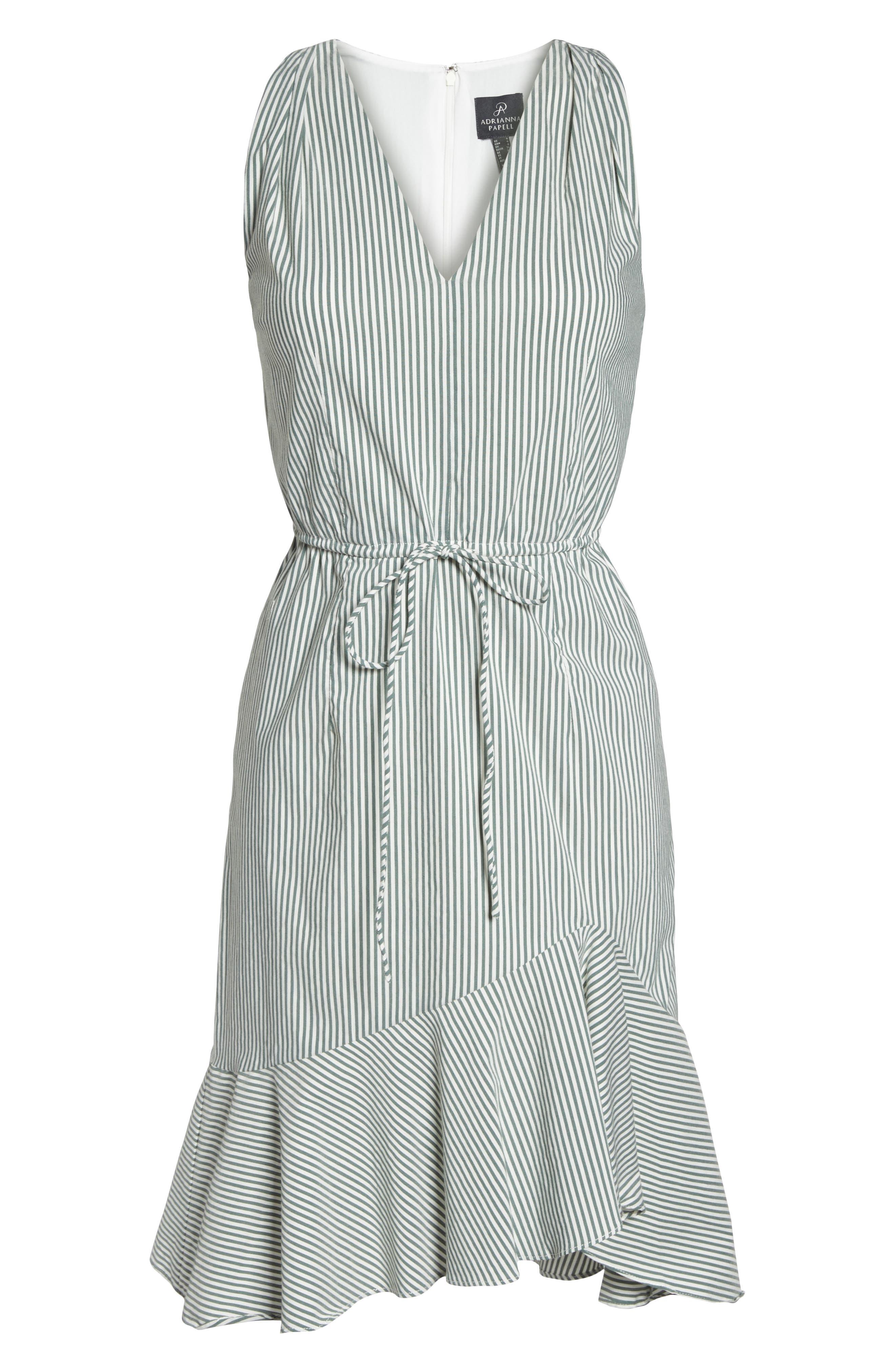 Stripe High/Low Dress,                             Alternate thumbnail 6, color,                             394