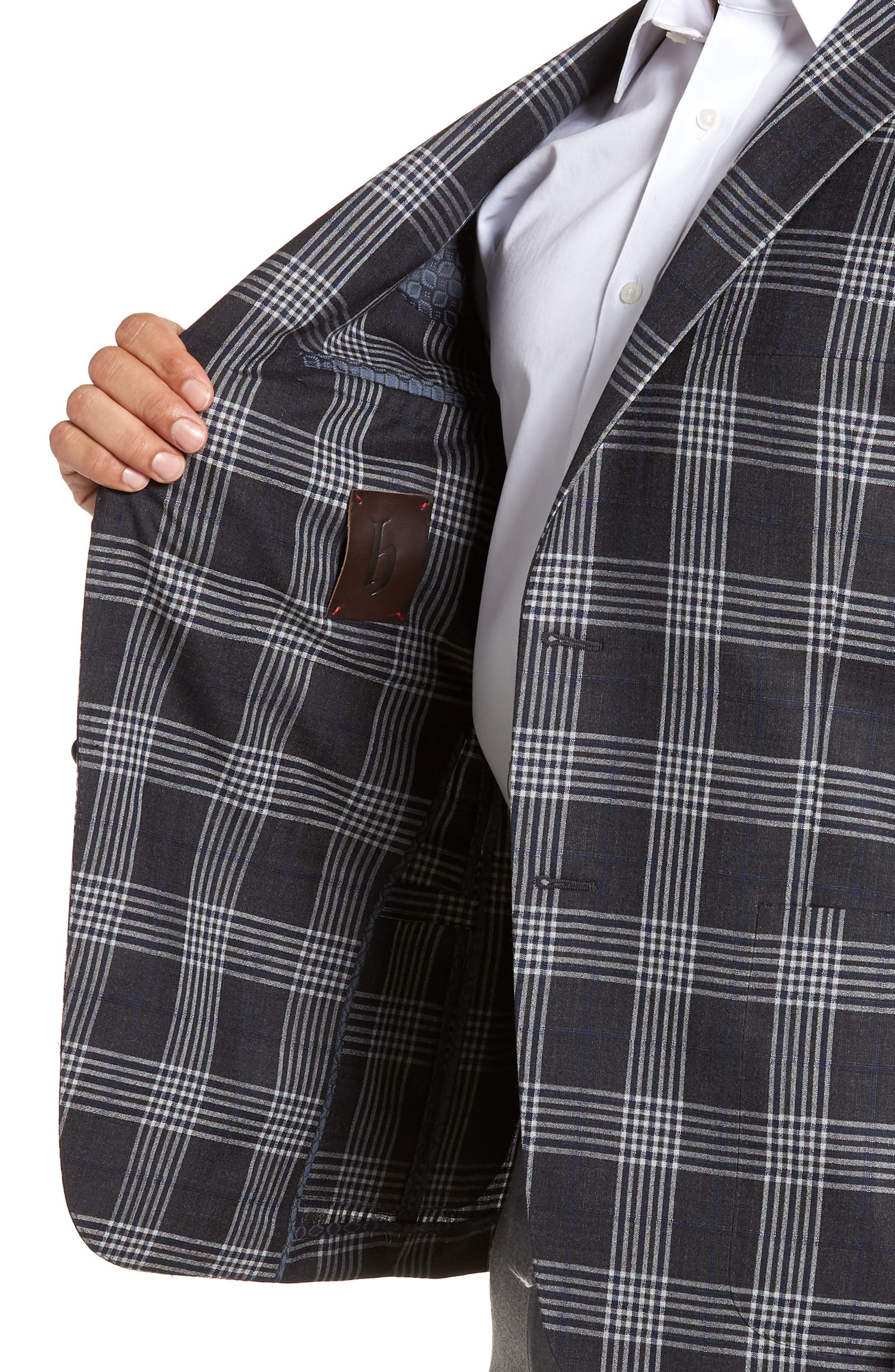 Modern Fit Plaid Wool & Silk Sport Coat,                             Alternate thumbnail 4, color,                             020