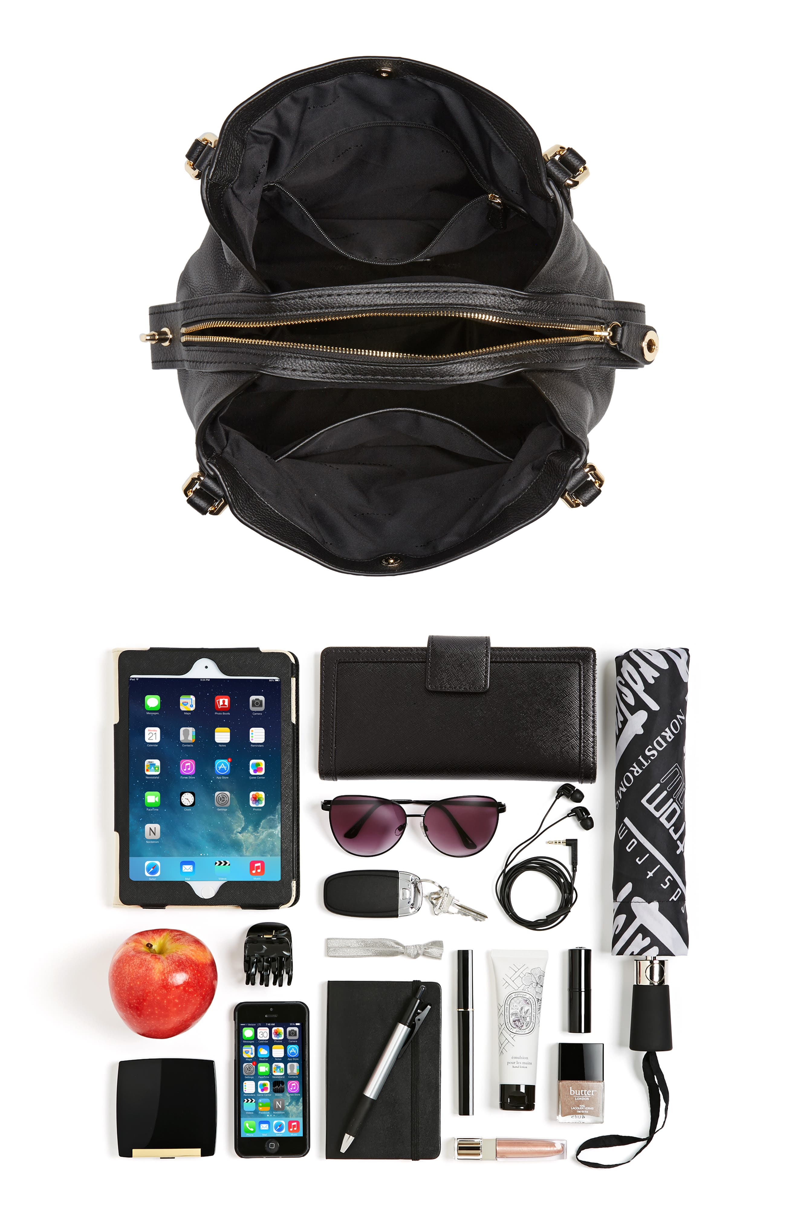 Edie 31 Pebbled Leather Shoulder Bag,                             Alternate thumbnail 7, color,                             BLACK