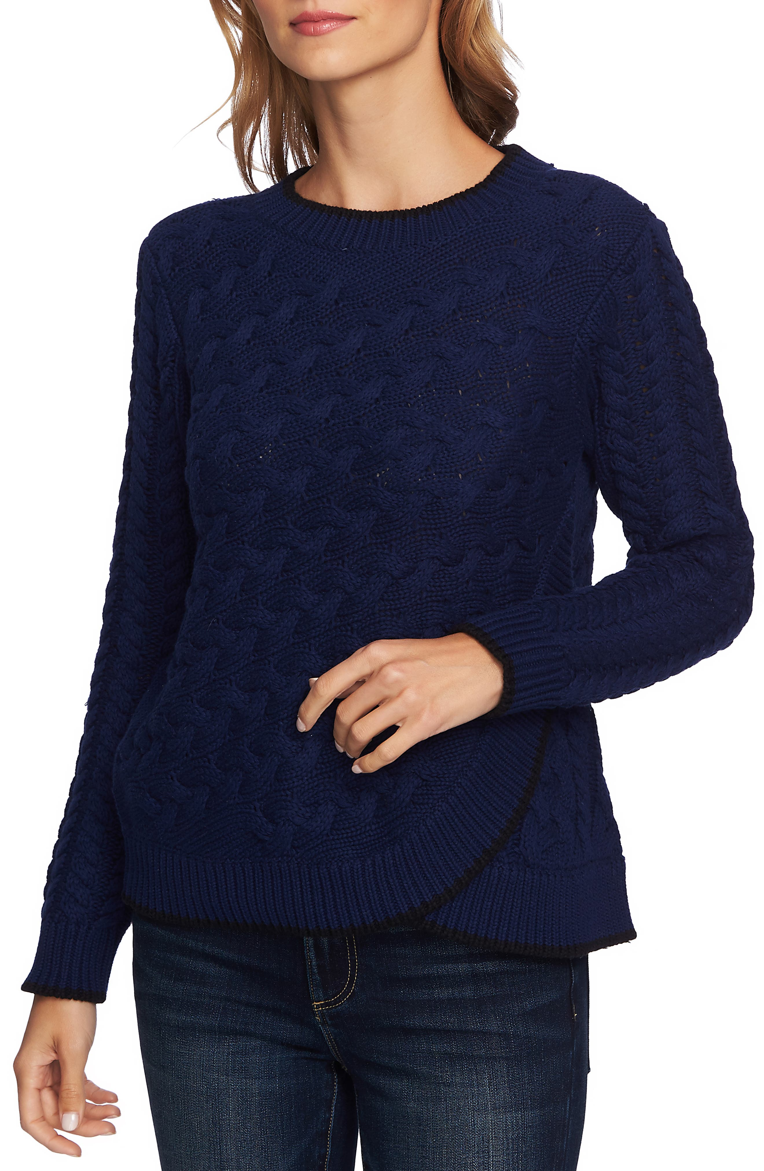 Cable Knit Overlay Cotton Sweater,                             Main thumbnail 1, color,                             MIDNIGHT BLOOM