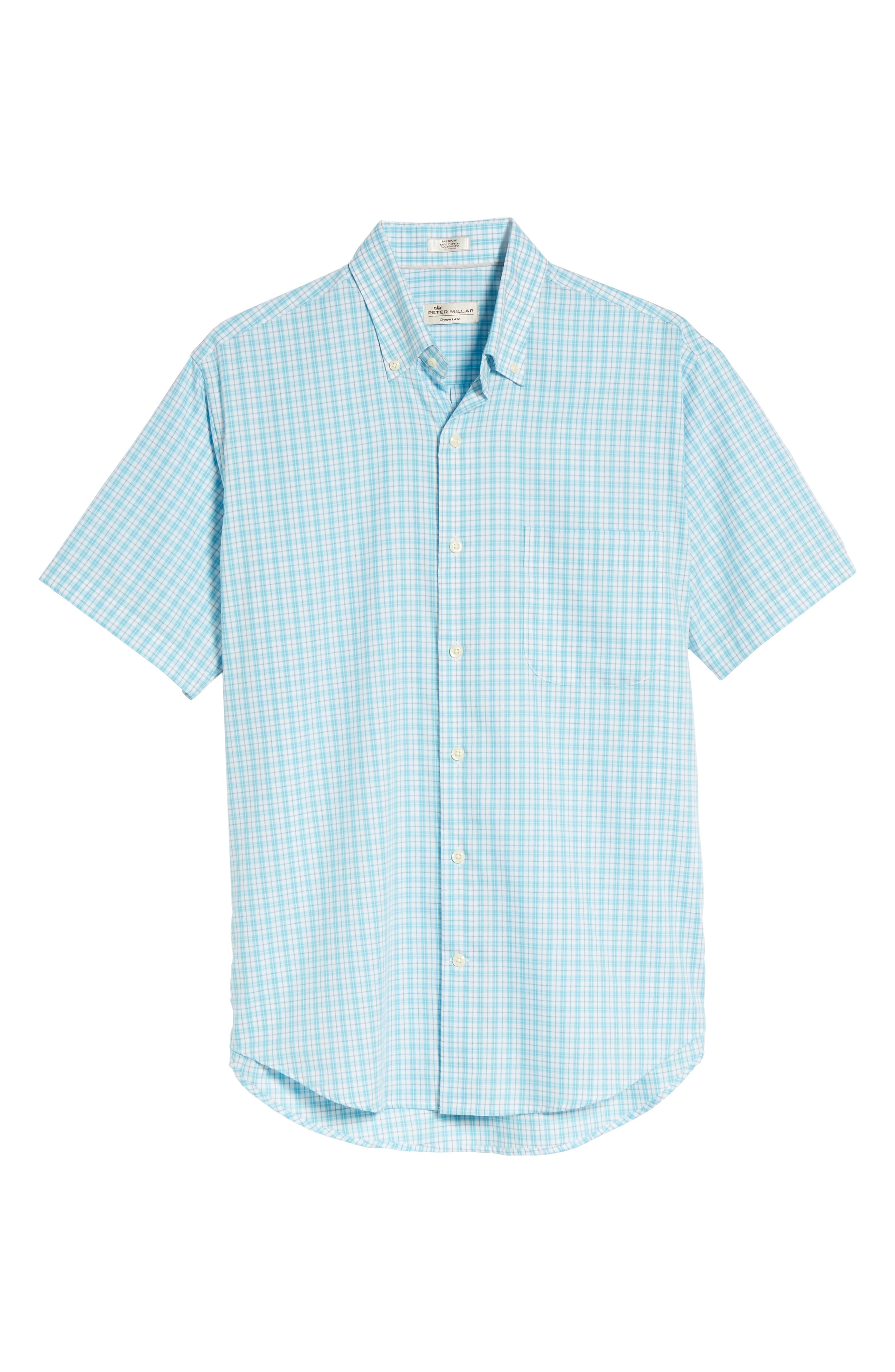 PETER MILLAR,                             Crown Ease Eventide Check Sport Shirt,                             Alternate thumbnail 6, color,                             BLUE FISH