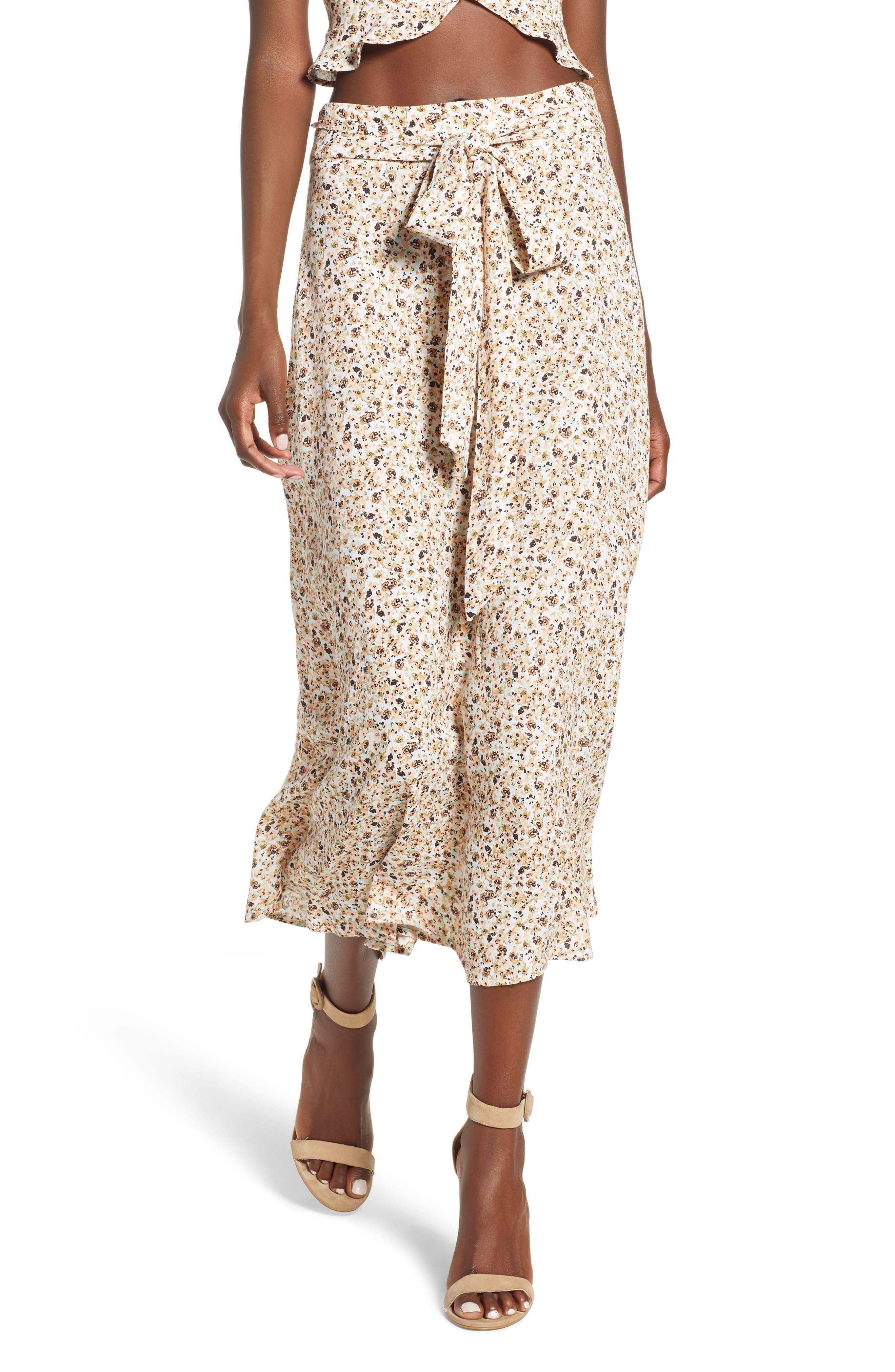 Mia Ruffle Midi Skirt,                         Main,                         color, BEIGE DITSY