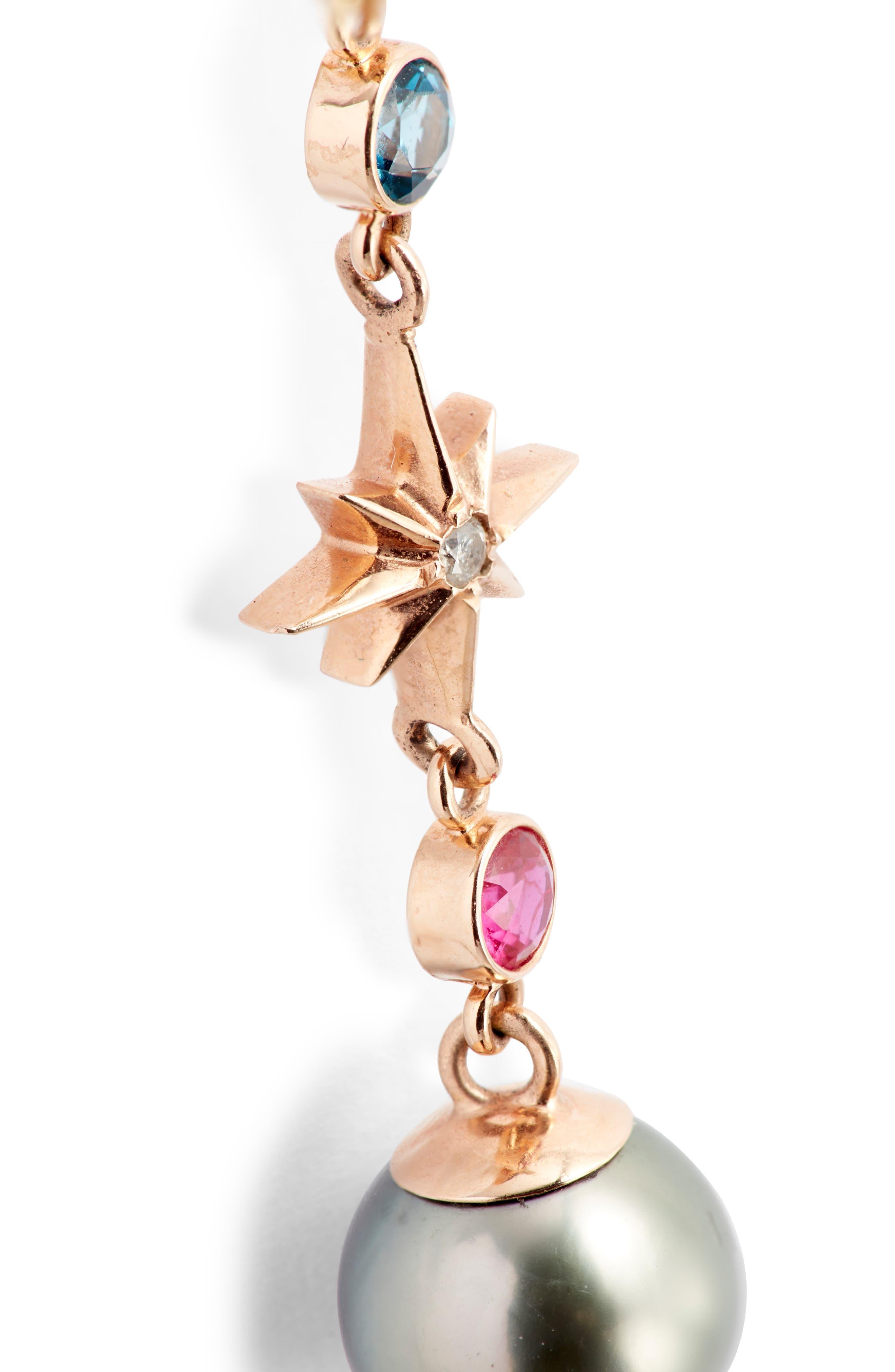 Elixir Single Linear Pearl, Diamond & Stone Drop Earring,                             Alternate thumbnail 5, color,                             ROSE GOLD