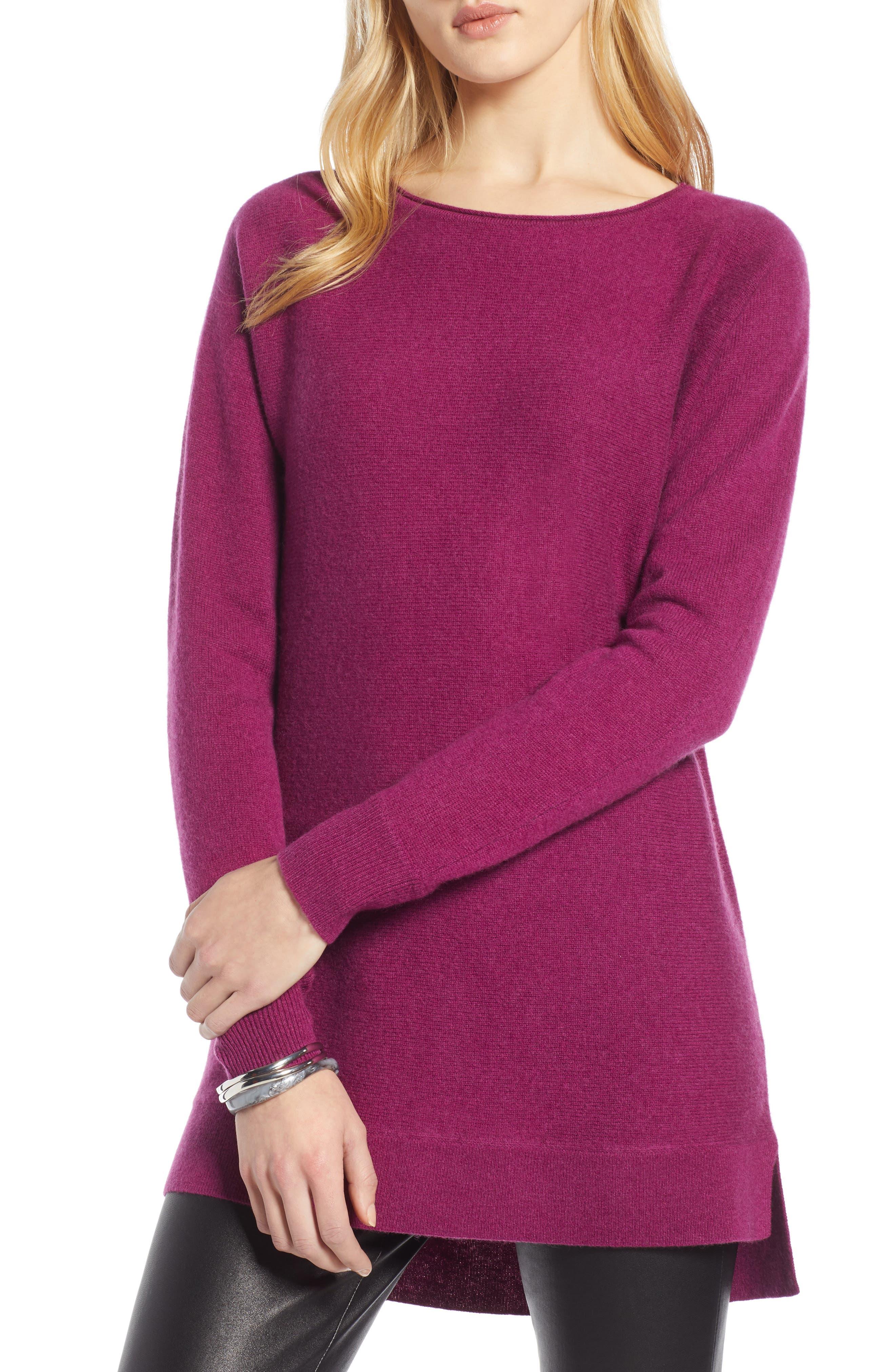Petite Halogen High/low Wool & Cashmere Tunic Sweater, Purple