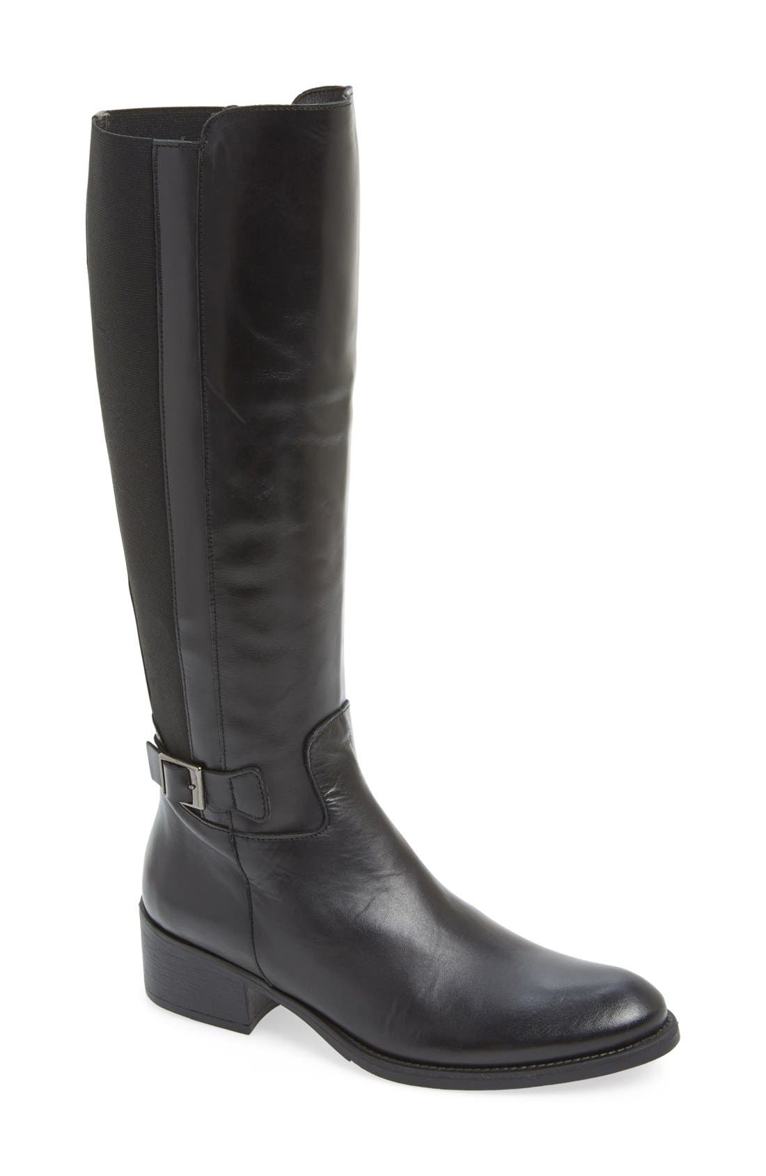 'Tacoma' Tall Elastic Back Boot in Black Leather
