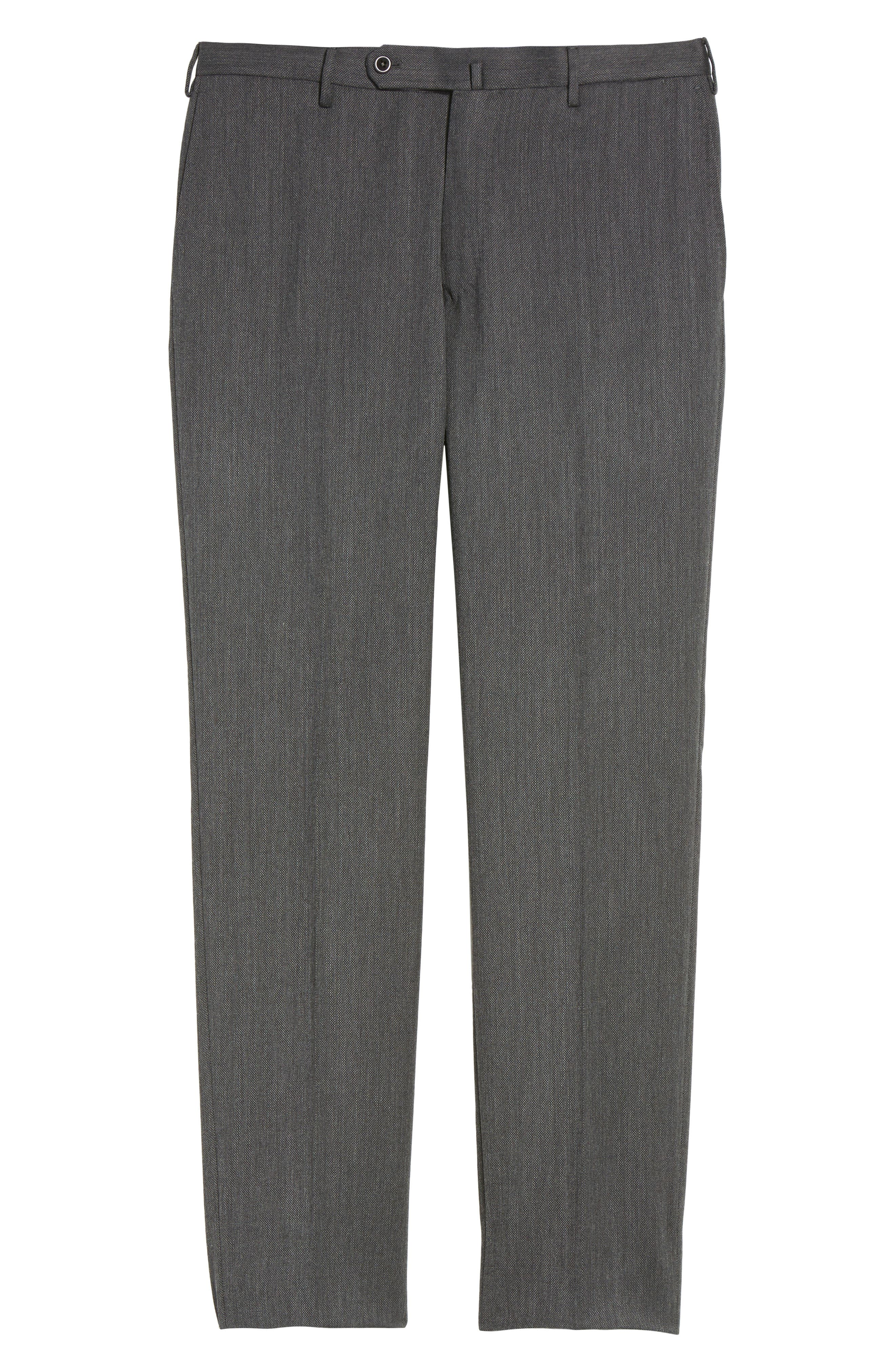 Benson Flat Front Wool Blend Trousers,                             Alternate thumbnail 6, color,                             025