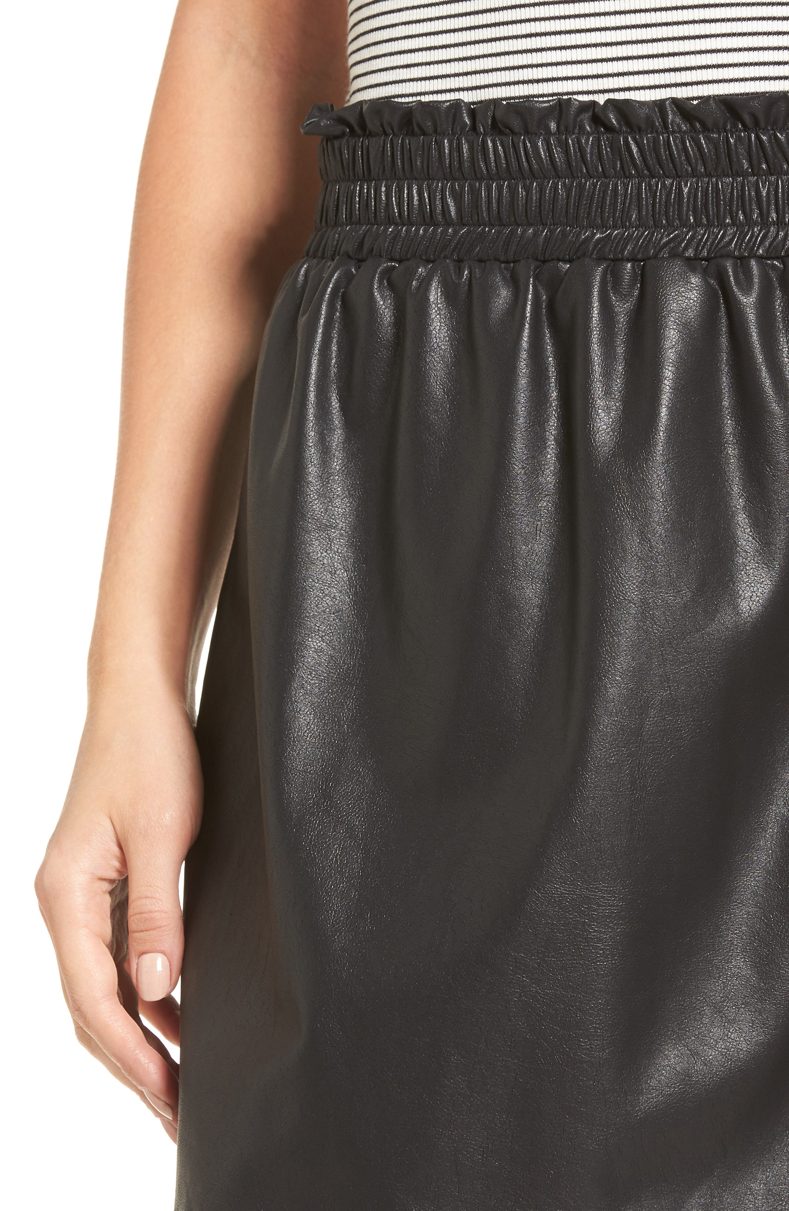 Faux Leather Paperbag Skirt,                             Alternate thumbnail 4, color,                             001