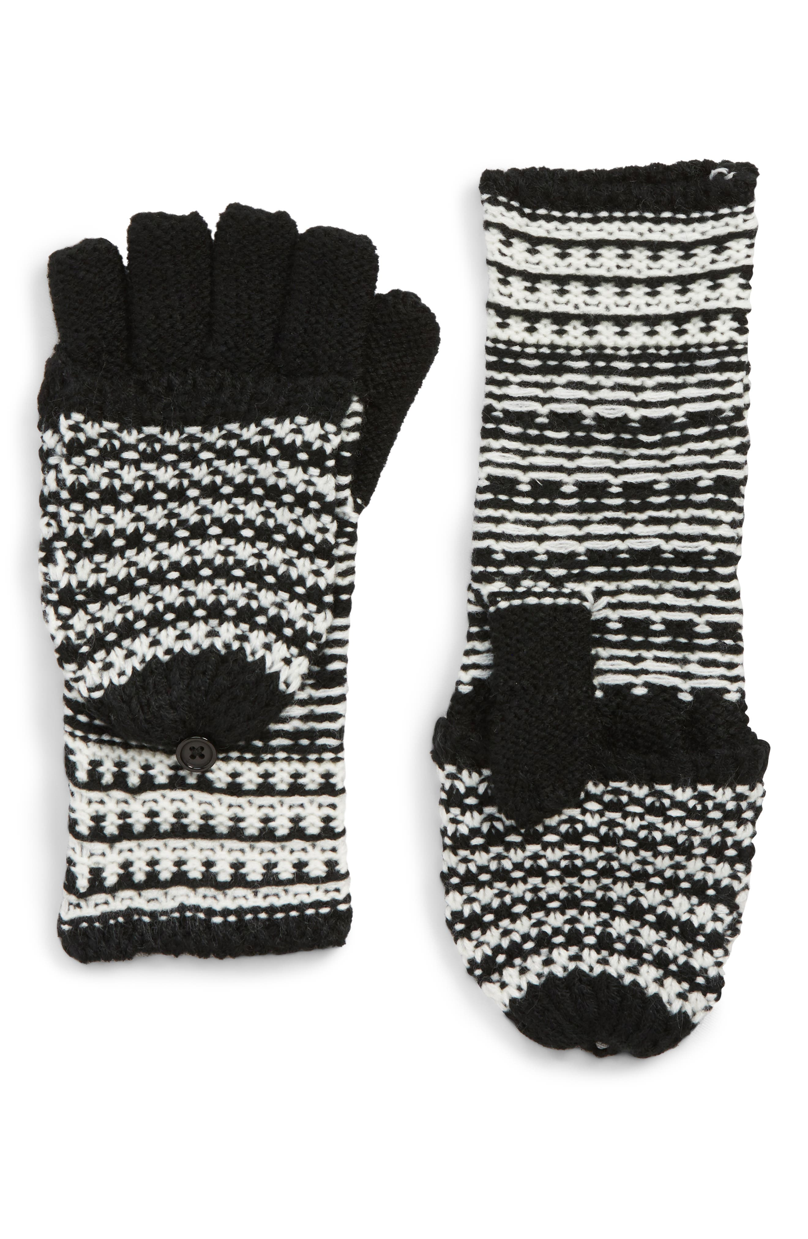 Pop Top Mittens,                             Main thumbnail 1, color,                             BLACK/ IVORY