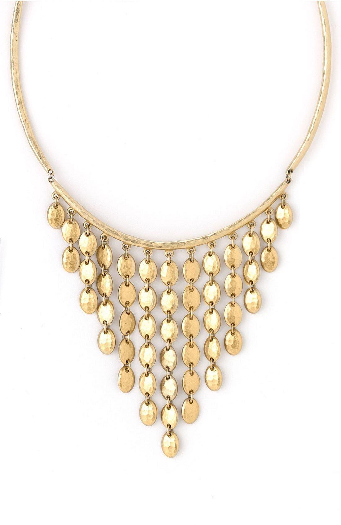 Goldtone Bib Necklace,                             Main thumbnail 1, color,                             710
