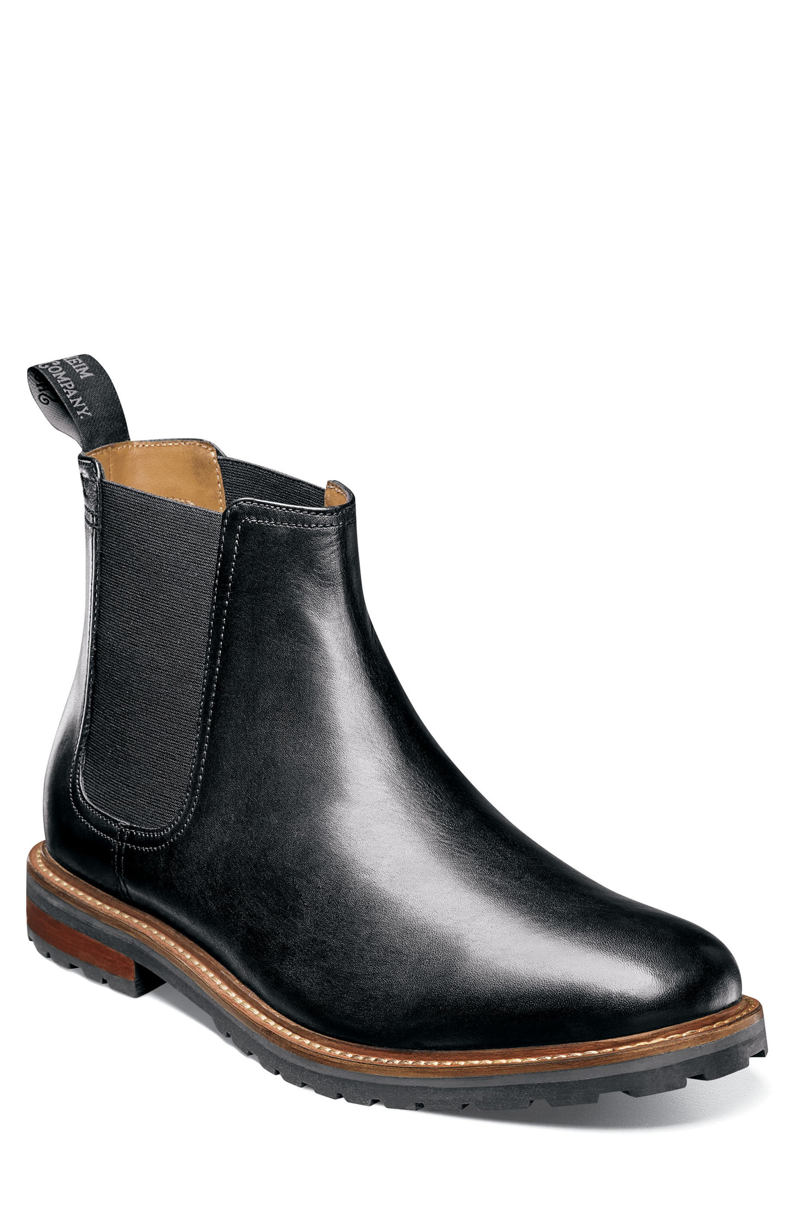 Estabrook Mid Chelsea Boot,                             Main thumbnail 1, color,                             BLACK LEATHER