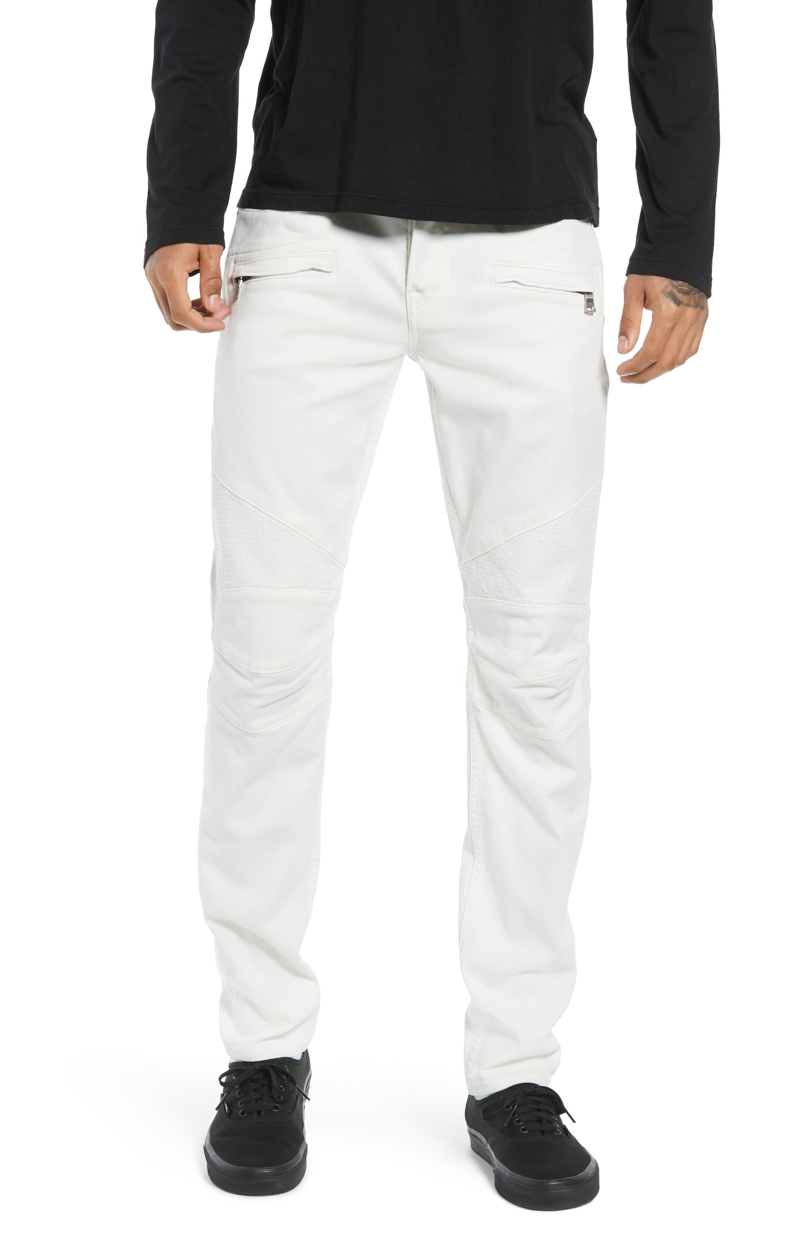 Blinder Biker Skinny Fit Jeans,                             Main thumbnail 1, color,                             DIRTY WHITE