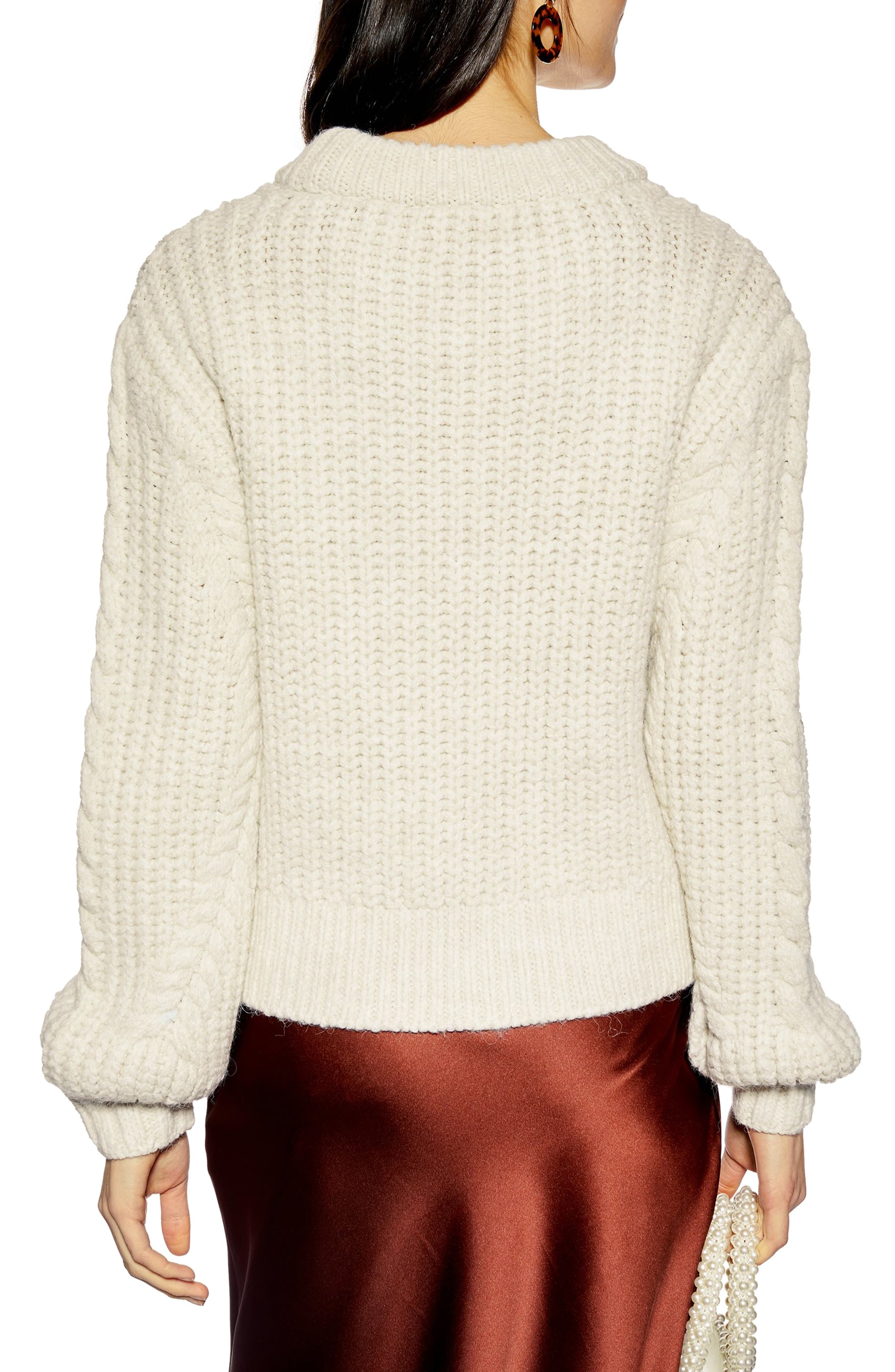 TOPSHOP,                             Bishop Sleeve Cable Knit Sweater,                             Alternate thumbnail 2, color,                             OATMEAL