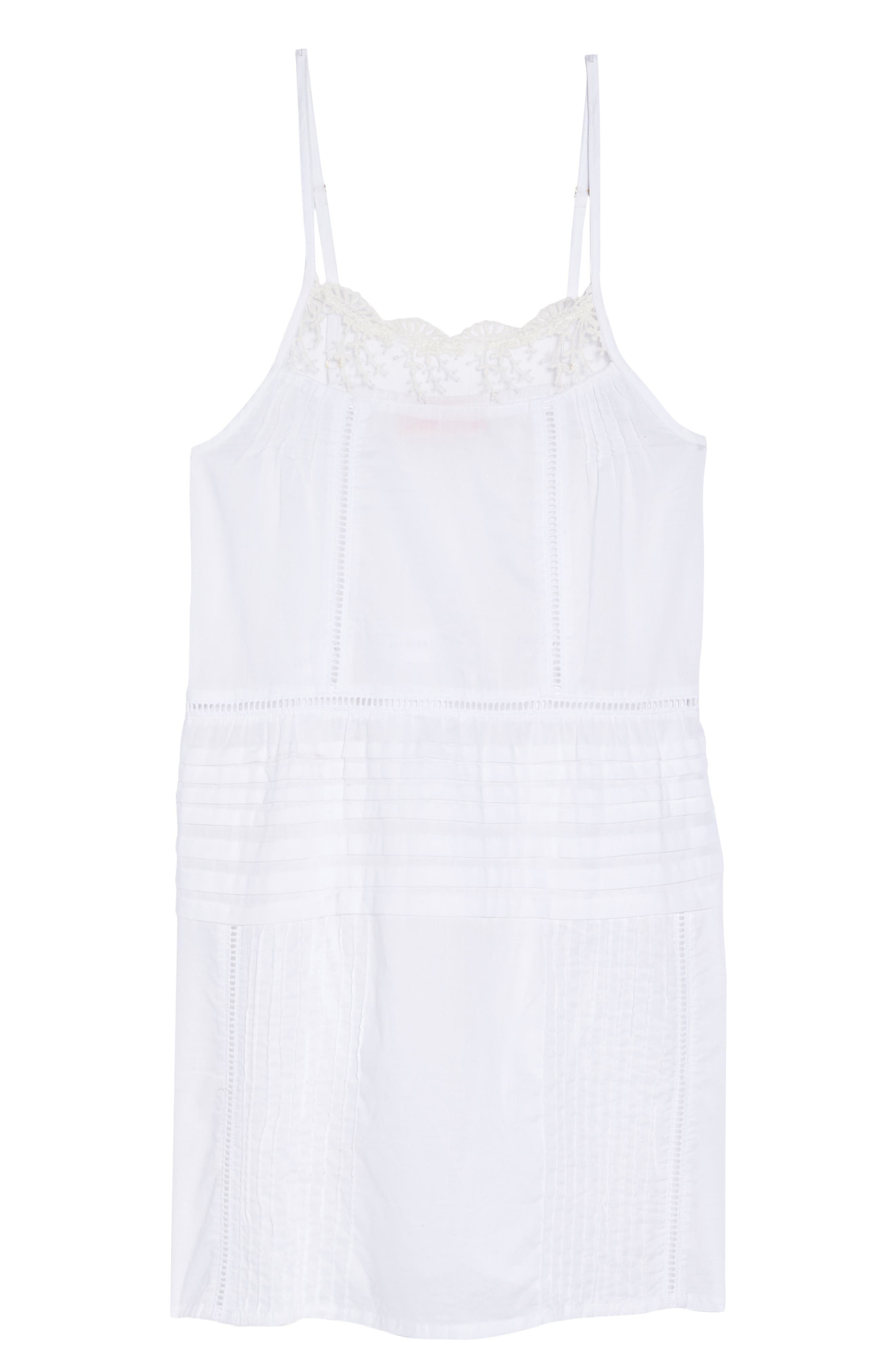 Embroidered Lace Chemise,                             Alternate thumbnail 6, color,                             WHITE