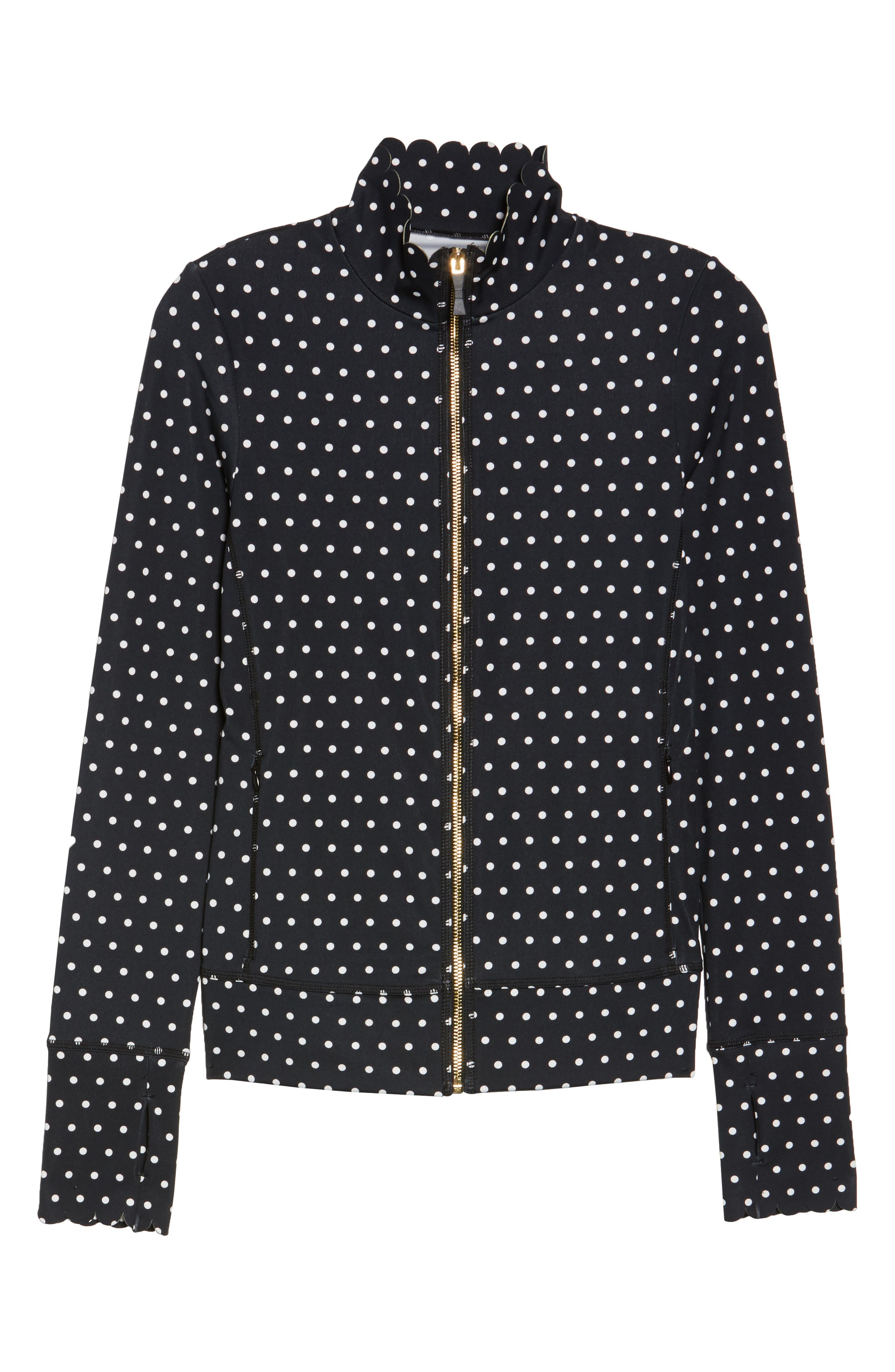 polka dot scallop jacket,                             Alternate thumbnail 6, color,                             BLACK/ CREAM