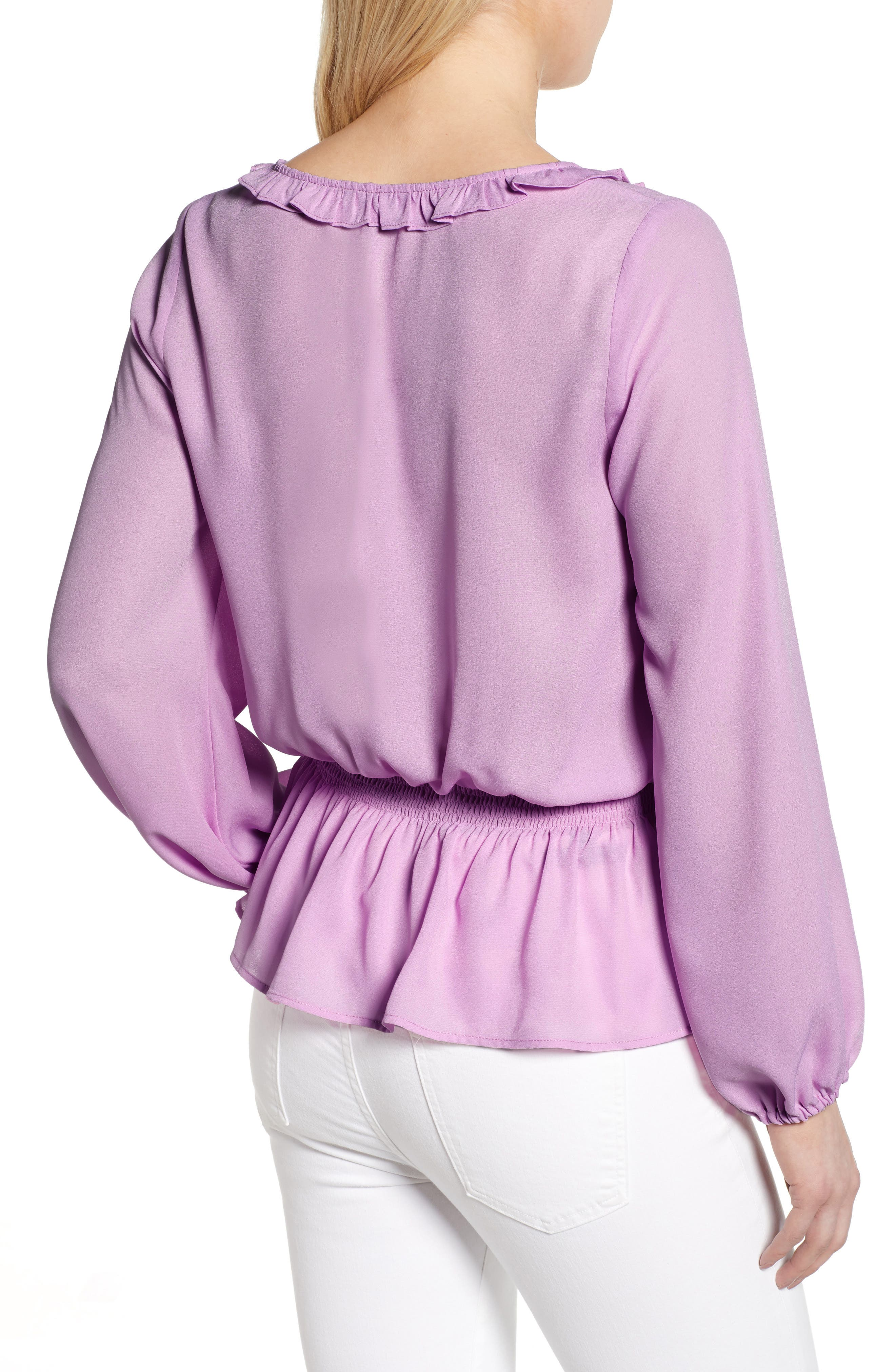 GIBSON,                             x International Women's Day Roselyn Ruffle Detail Smock Waist Blouse,                             Alternate thumbnail 2, color,                             LAVENDER LILY