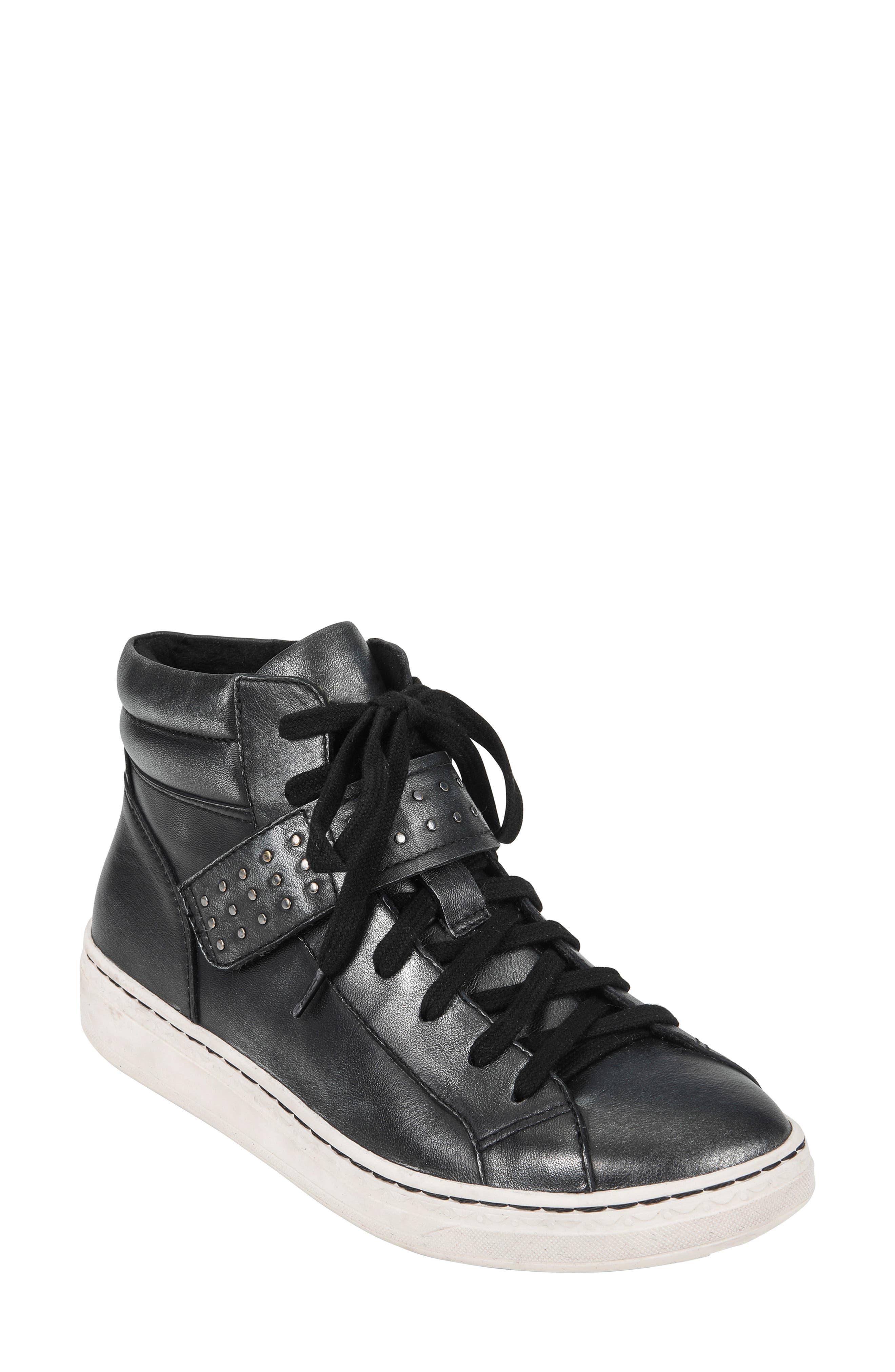 Zeal High Top Sneaker,                             Main thumbnail 1, color,                             BLACK METALLIC LEATHER