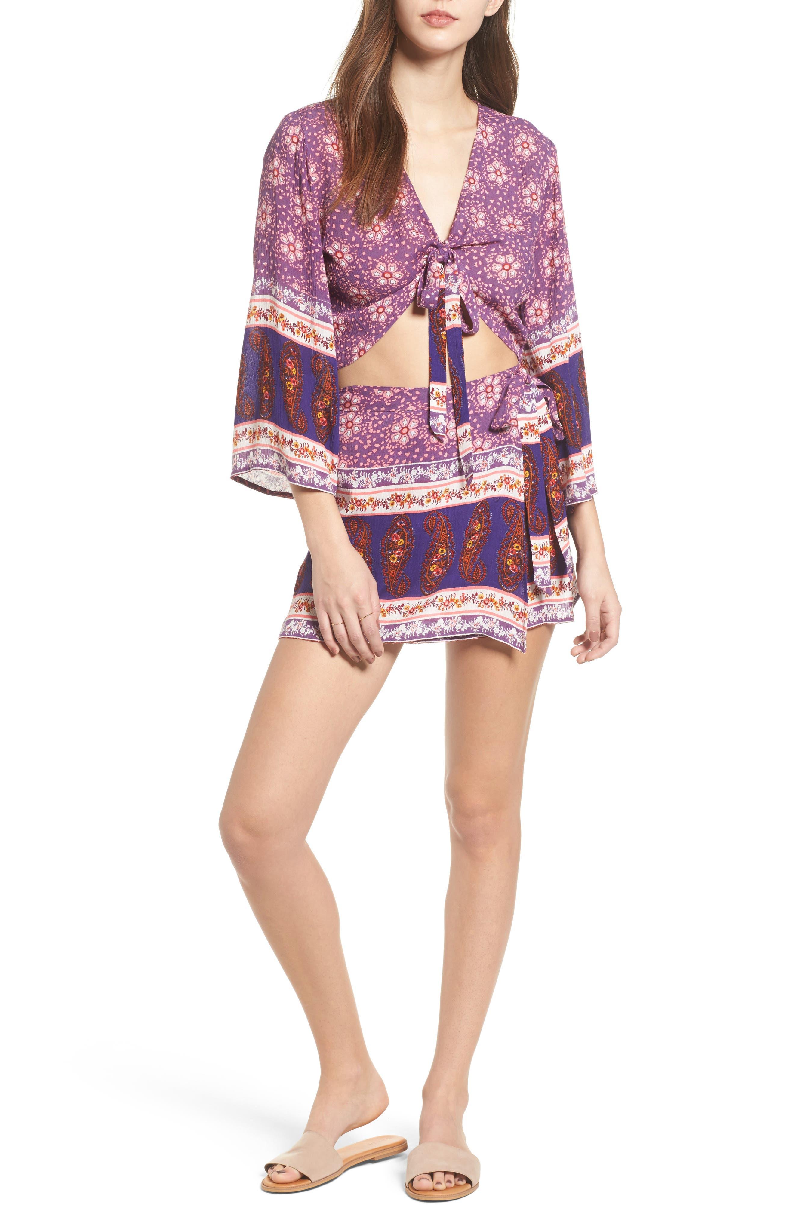 Dana Floral Wrap Skirt,                             Alternate thumbnail 7, color,                             500