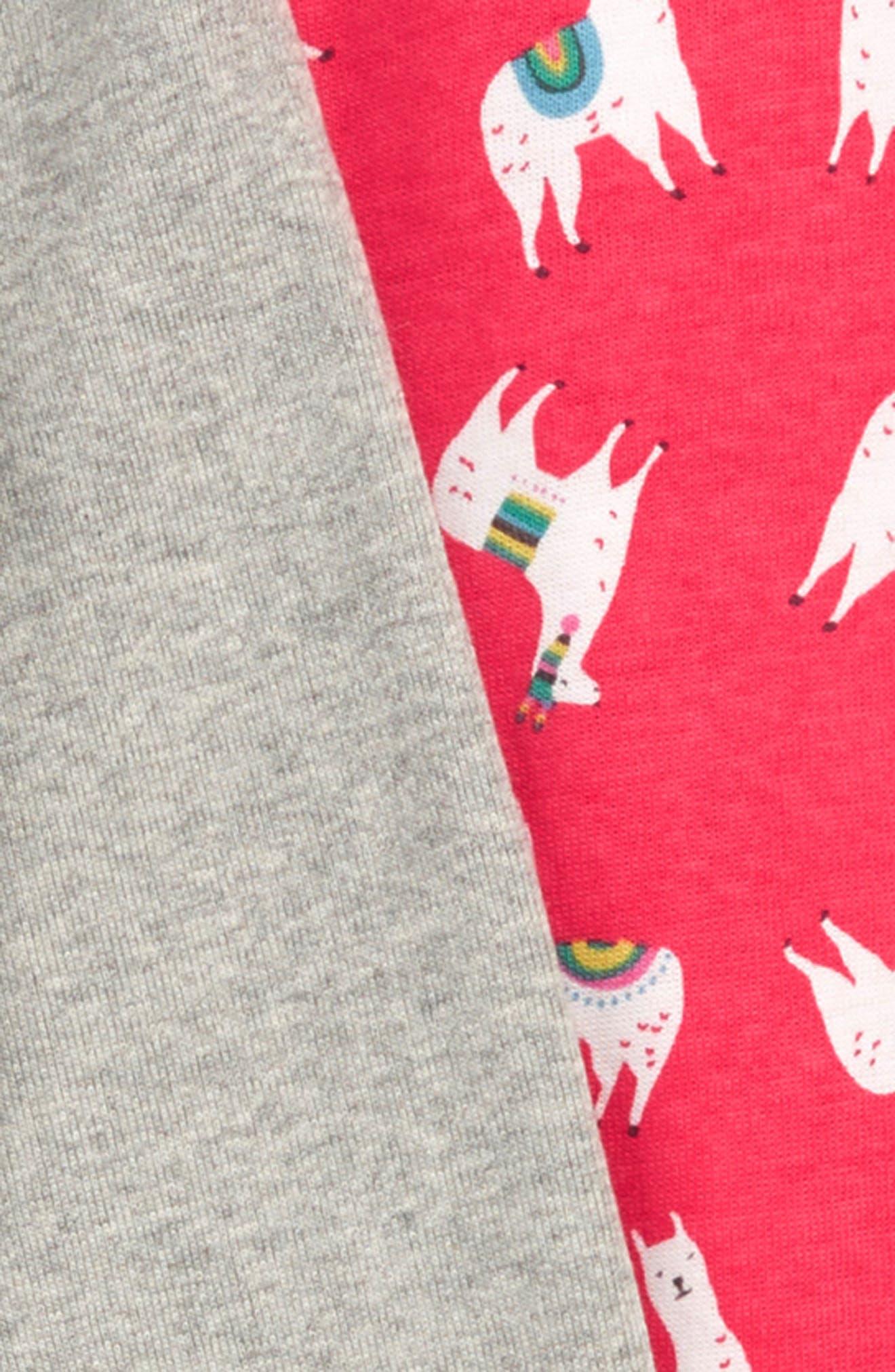 Fitted Cosy Long John Pajamas,                             Alternate thumbnail 2, color,                             BPK PINK BERRY LLAMAS