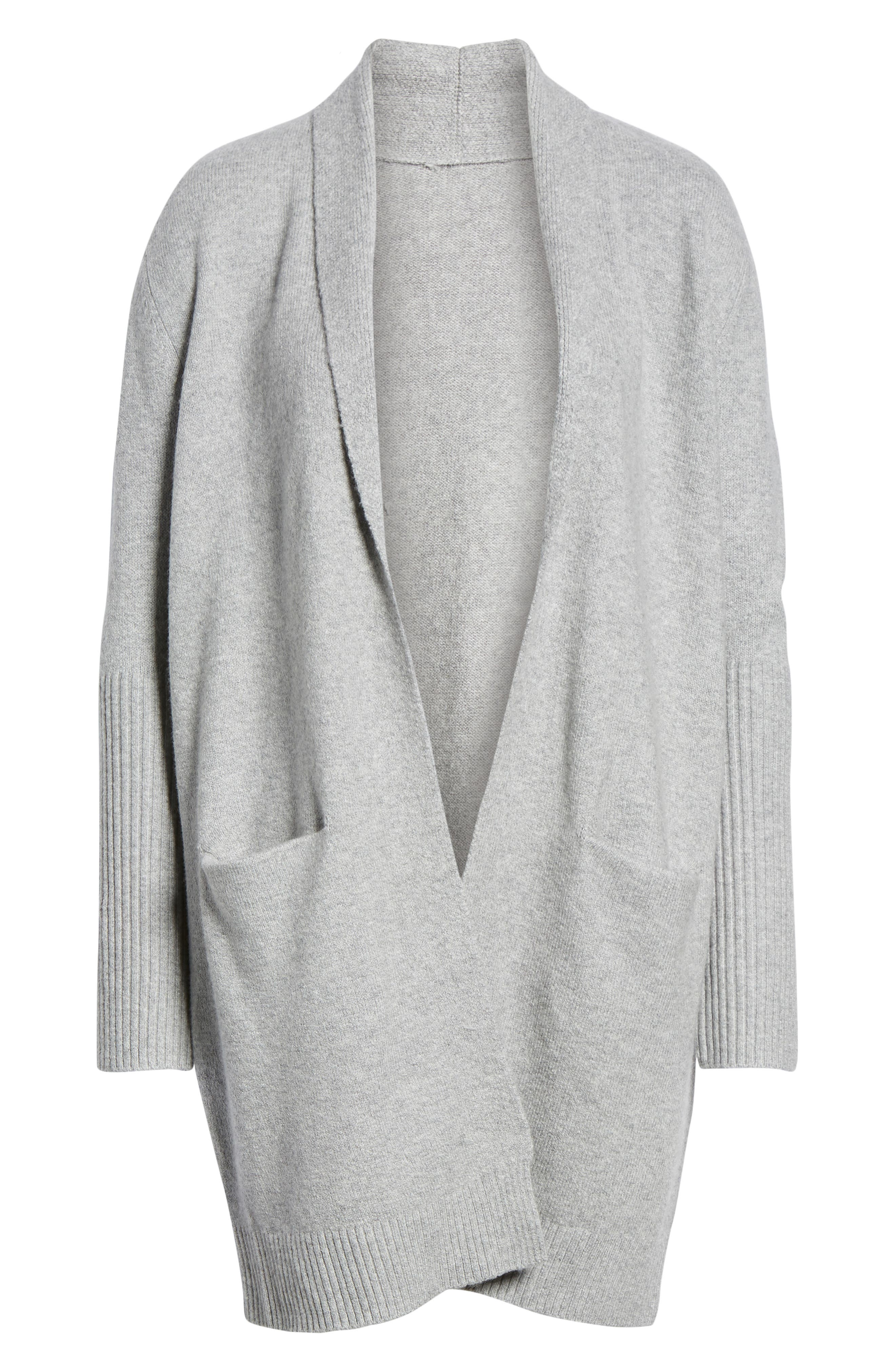 Rib Knit Detail Cardigan,                             Alternate thumbnail 6, color,                             GREY HEATHER