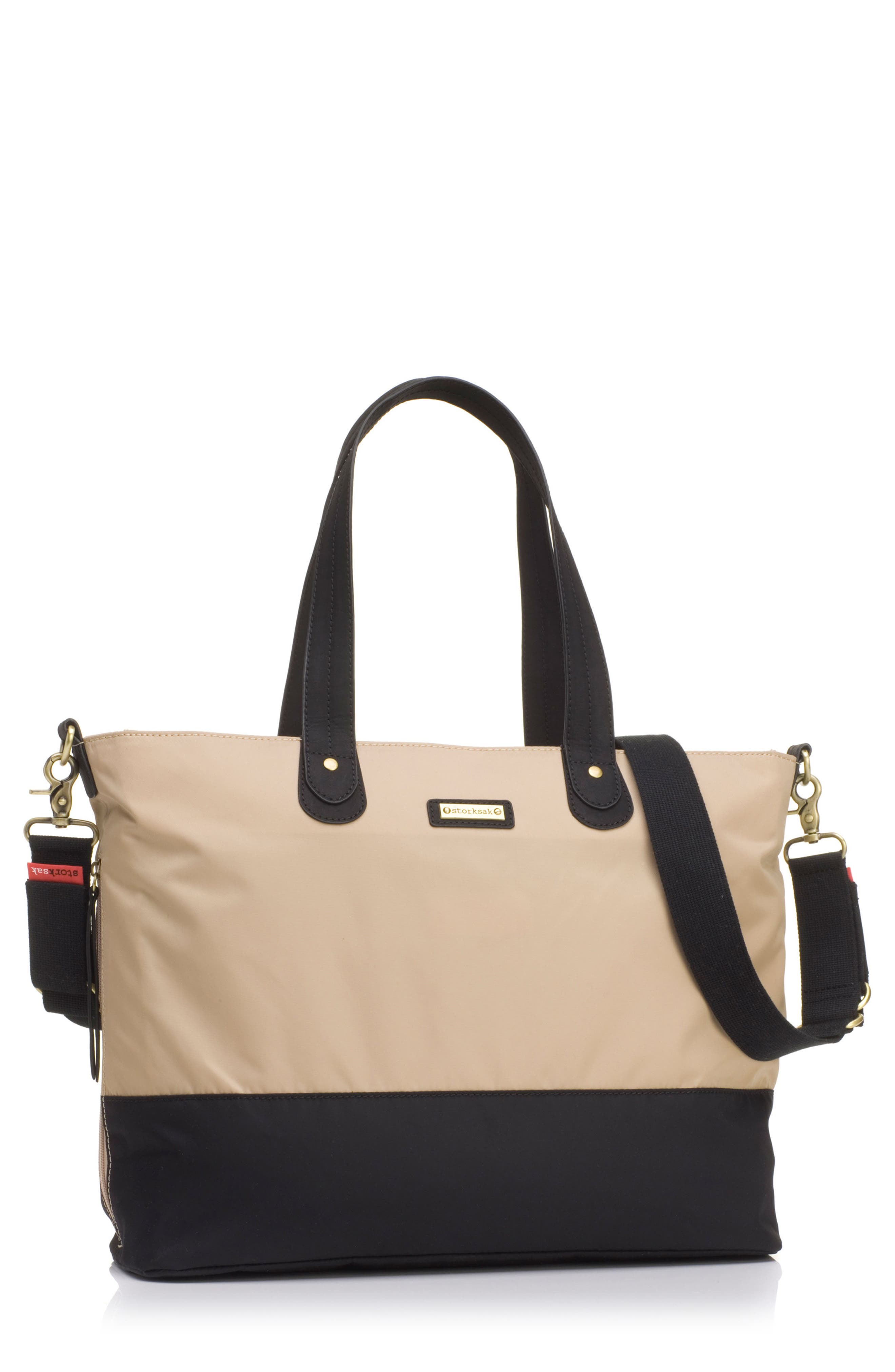 Diaper Tote,                         Main,                         color, CHAMPAGNE/ BLACK