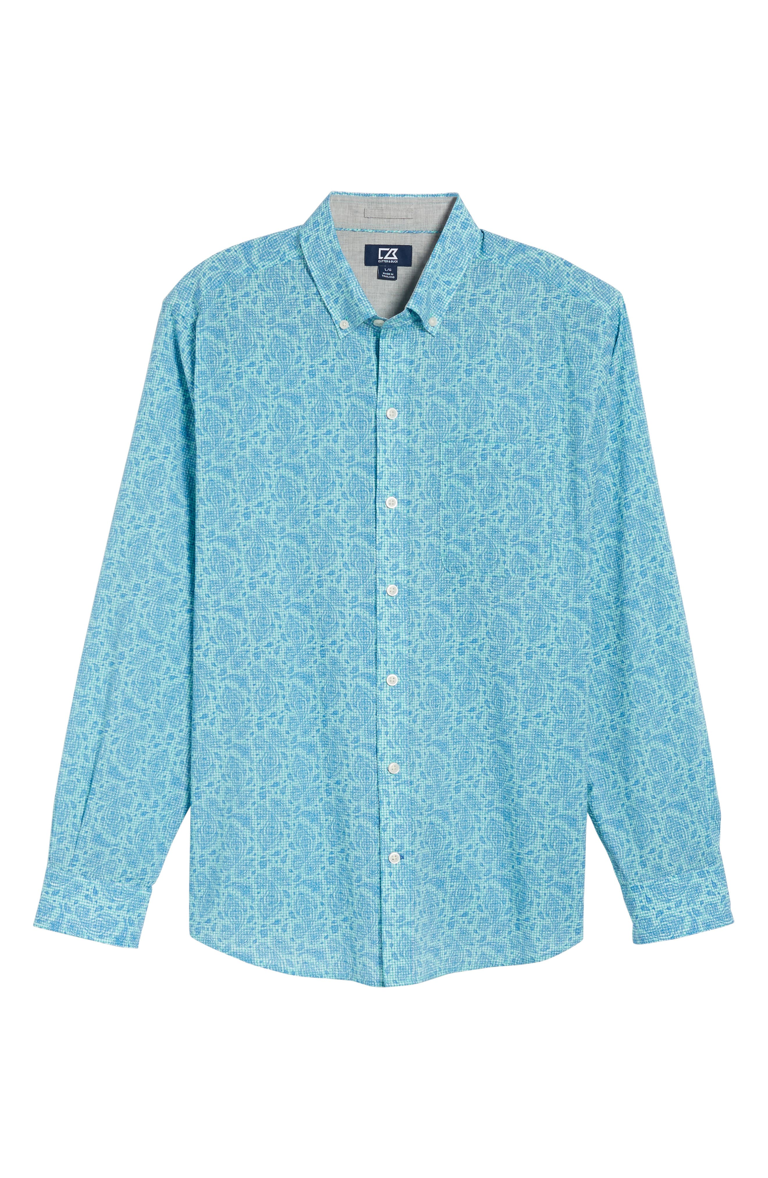 Jameson Classic Fit Print Seersucker Sport Shirt,                             Alternate thumbnail 6, color,                             328