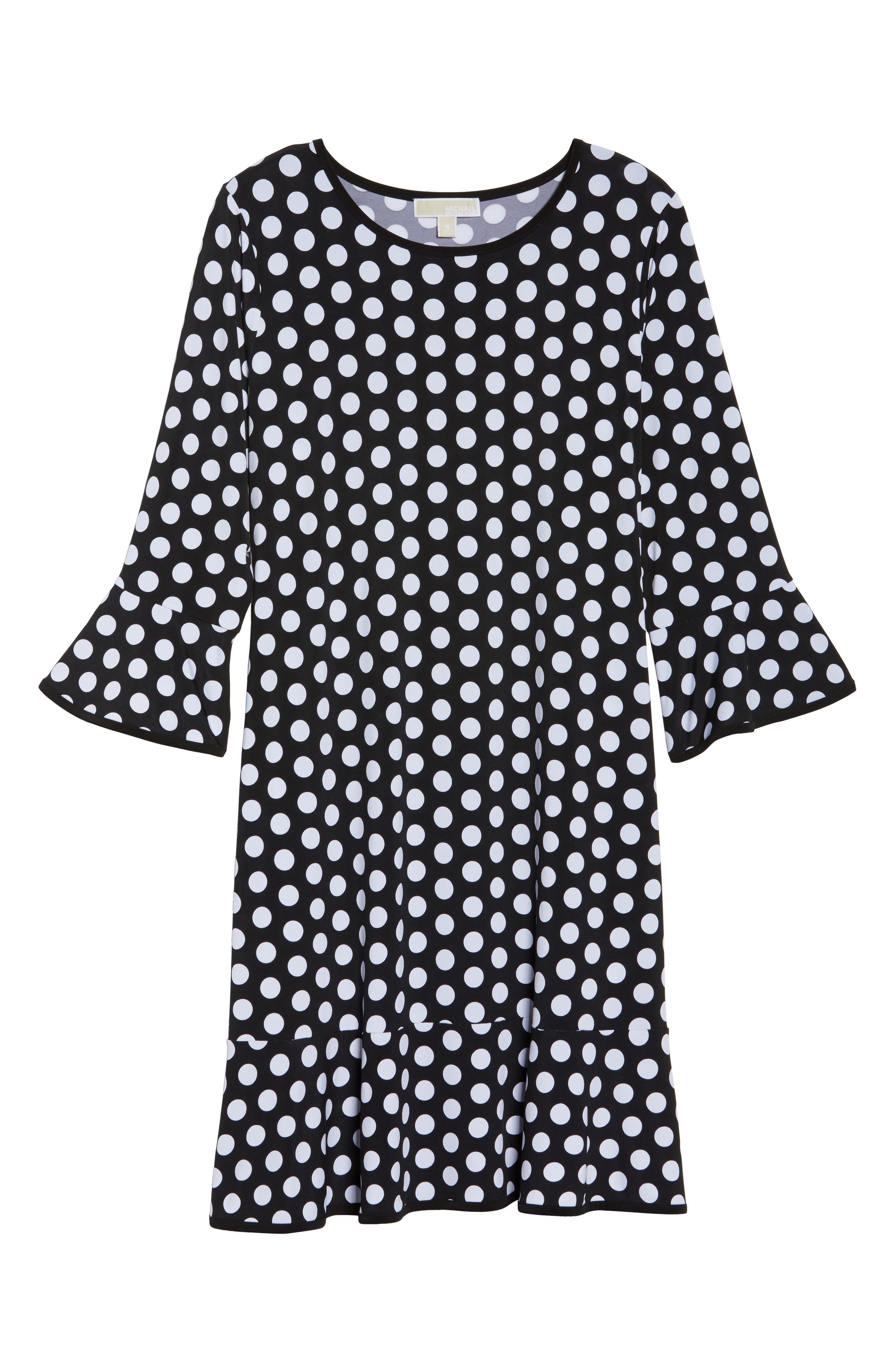 Simple Dot Flounce Dress,                             Alternate thumbnail 6, color,                             008
