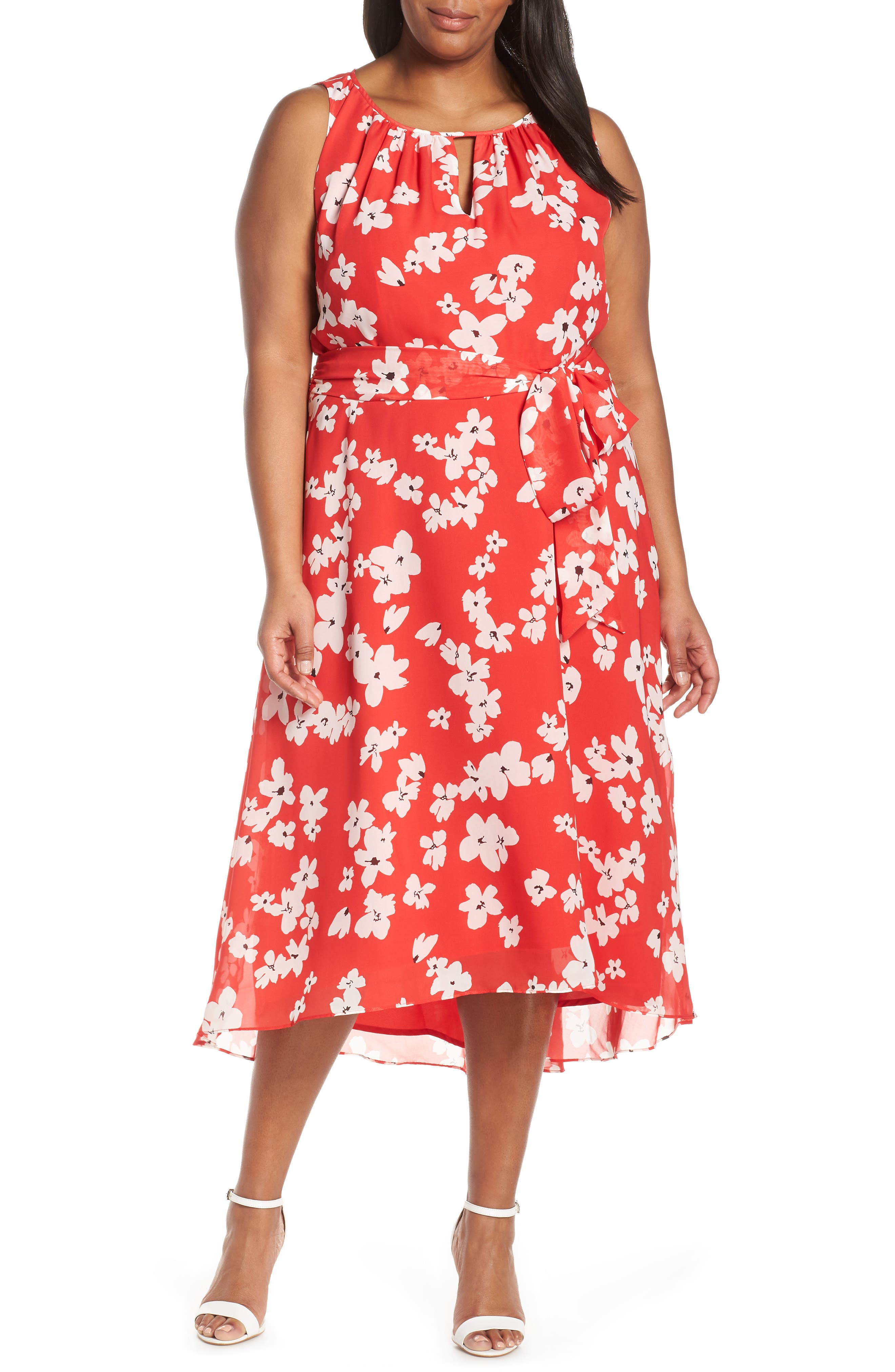 Plus Size Tahari Sleeveless Printed High/low Maxi Dress, Red