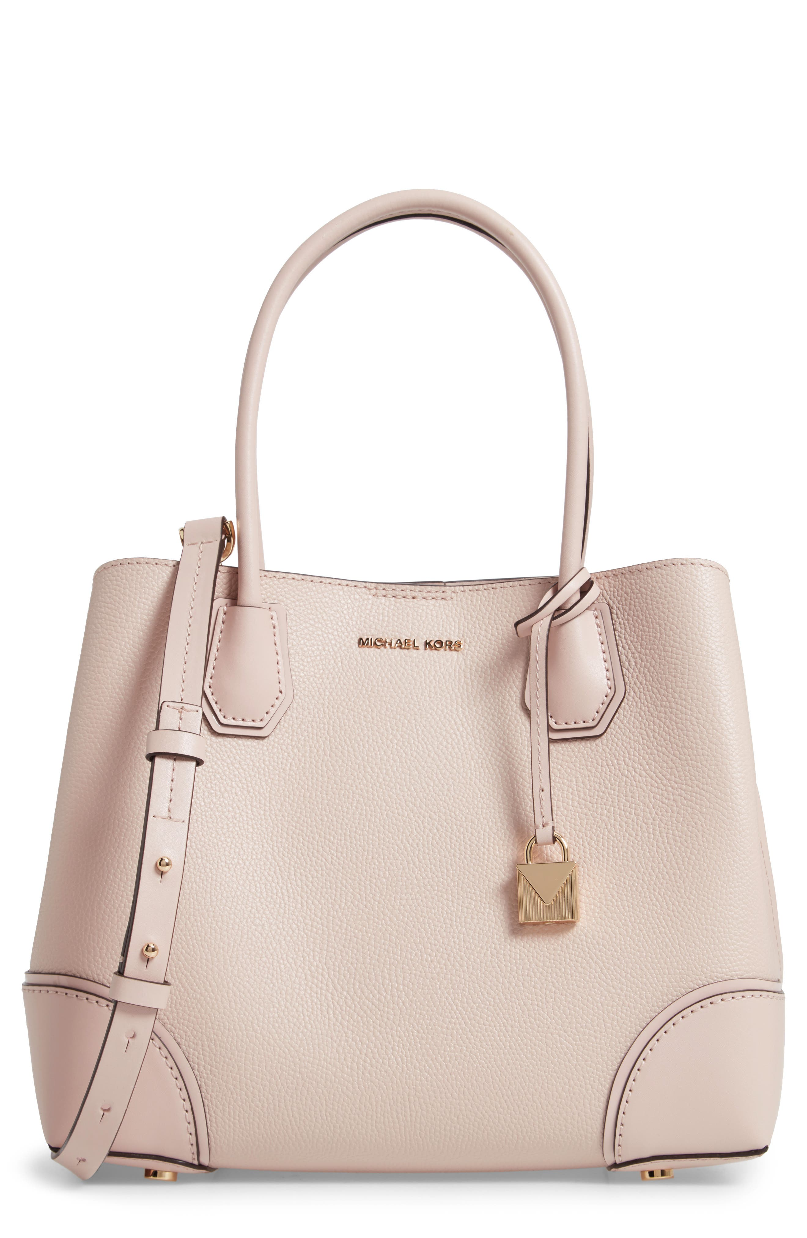 Medium Mercer Gallery Leather Satchel - Pink in Soft Pink