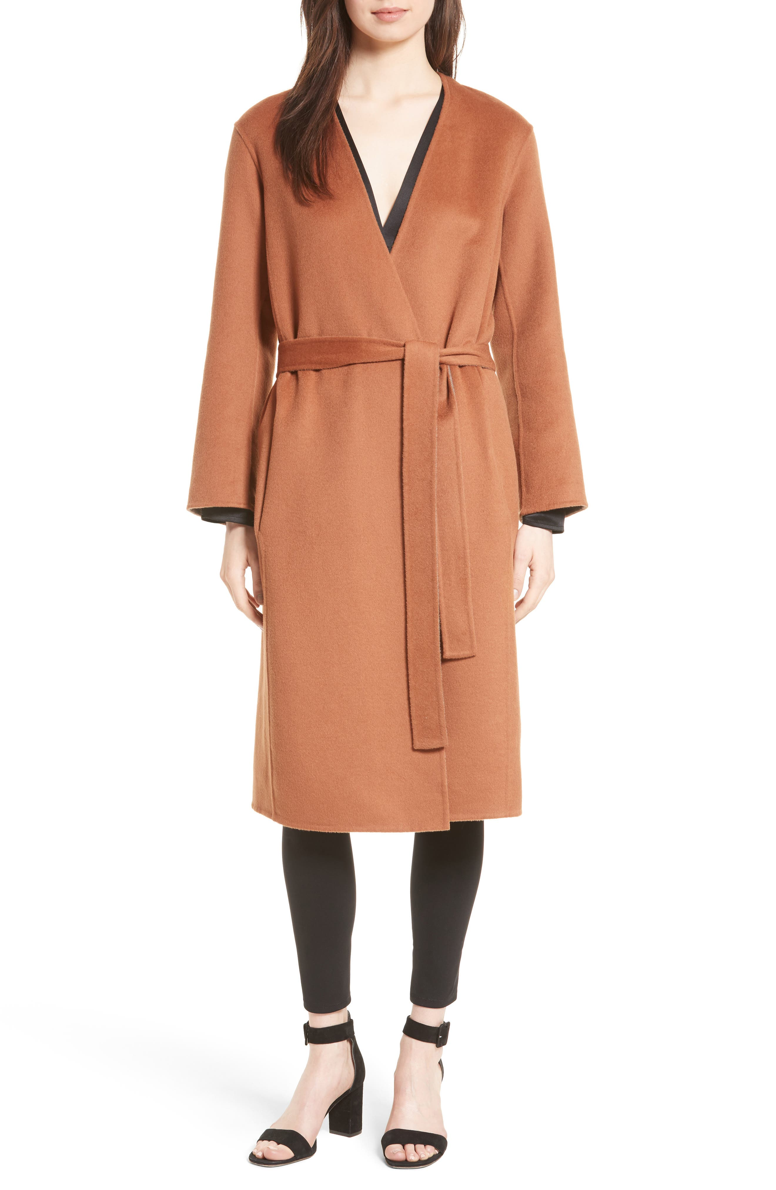 Reversible Wool & Cashmere Belted Coat,                             Alternate thumbnail 14, color,