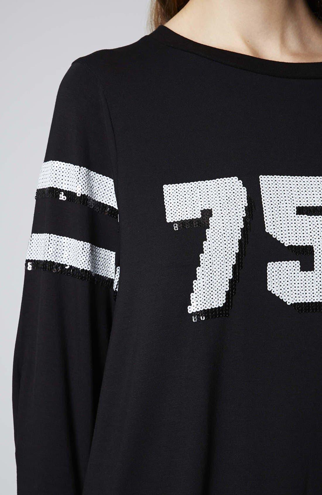 TOPSHOP,                             '750' Sequin Tunic,                             Alternate thumbnail 4, color,                             001