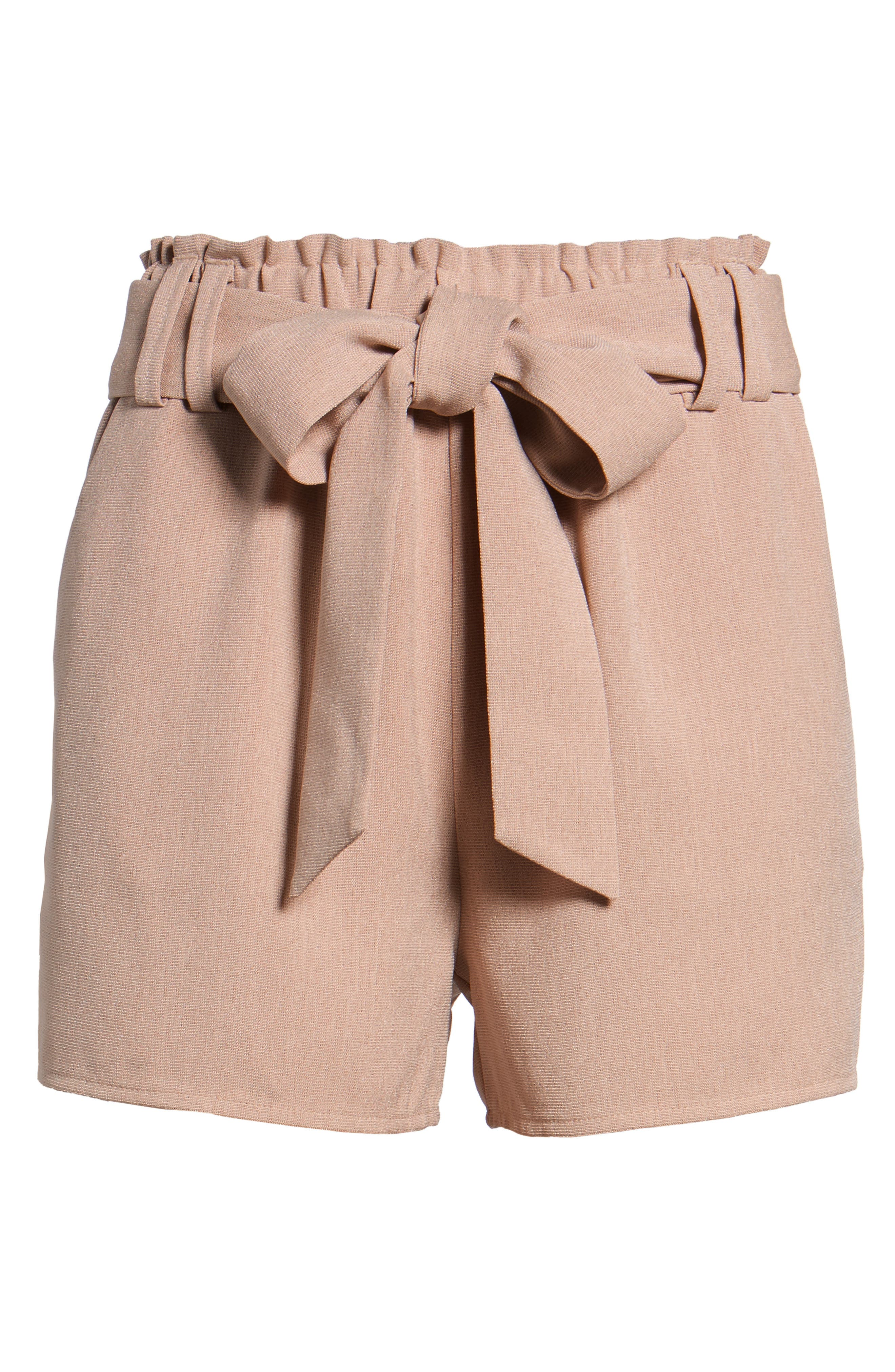 Tie Waist Shorts,                             Alternate thumbnail 6, color,                             DUSTY PINK