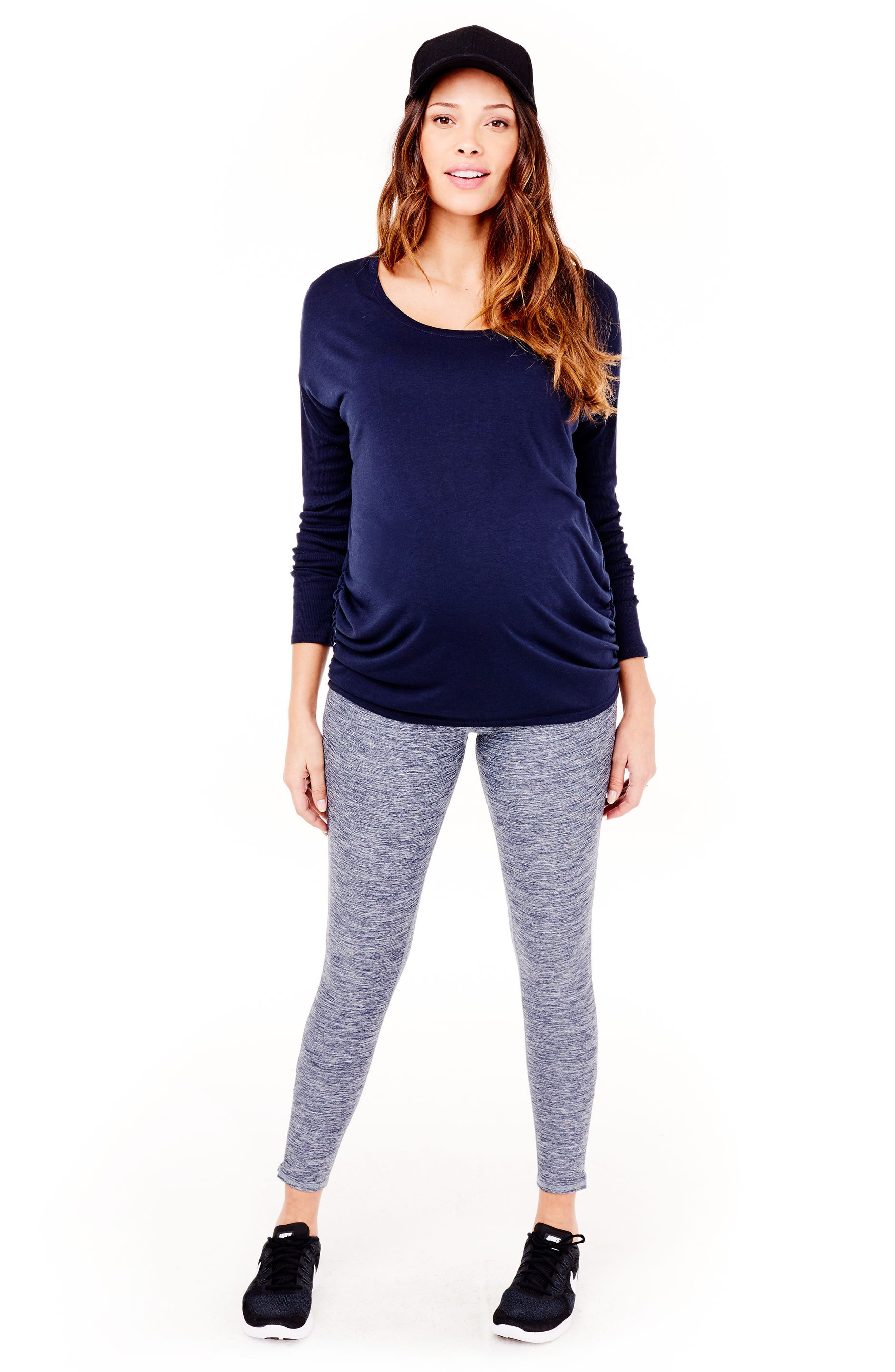 'Active' Maternity Leggings with Crossover Panel,                             Alternate thumbnail 4, color,                             417