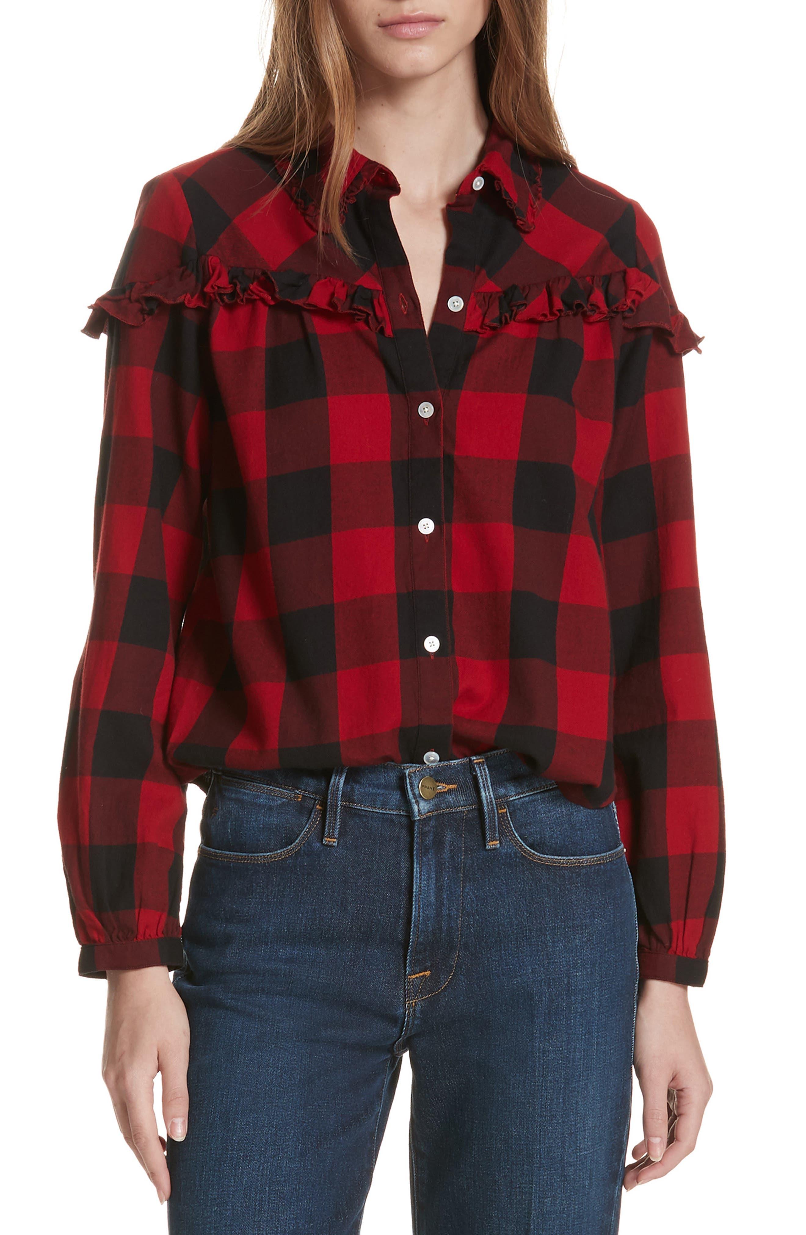 Ruffle Trim Buffalo Check Shirt in Red