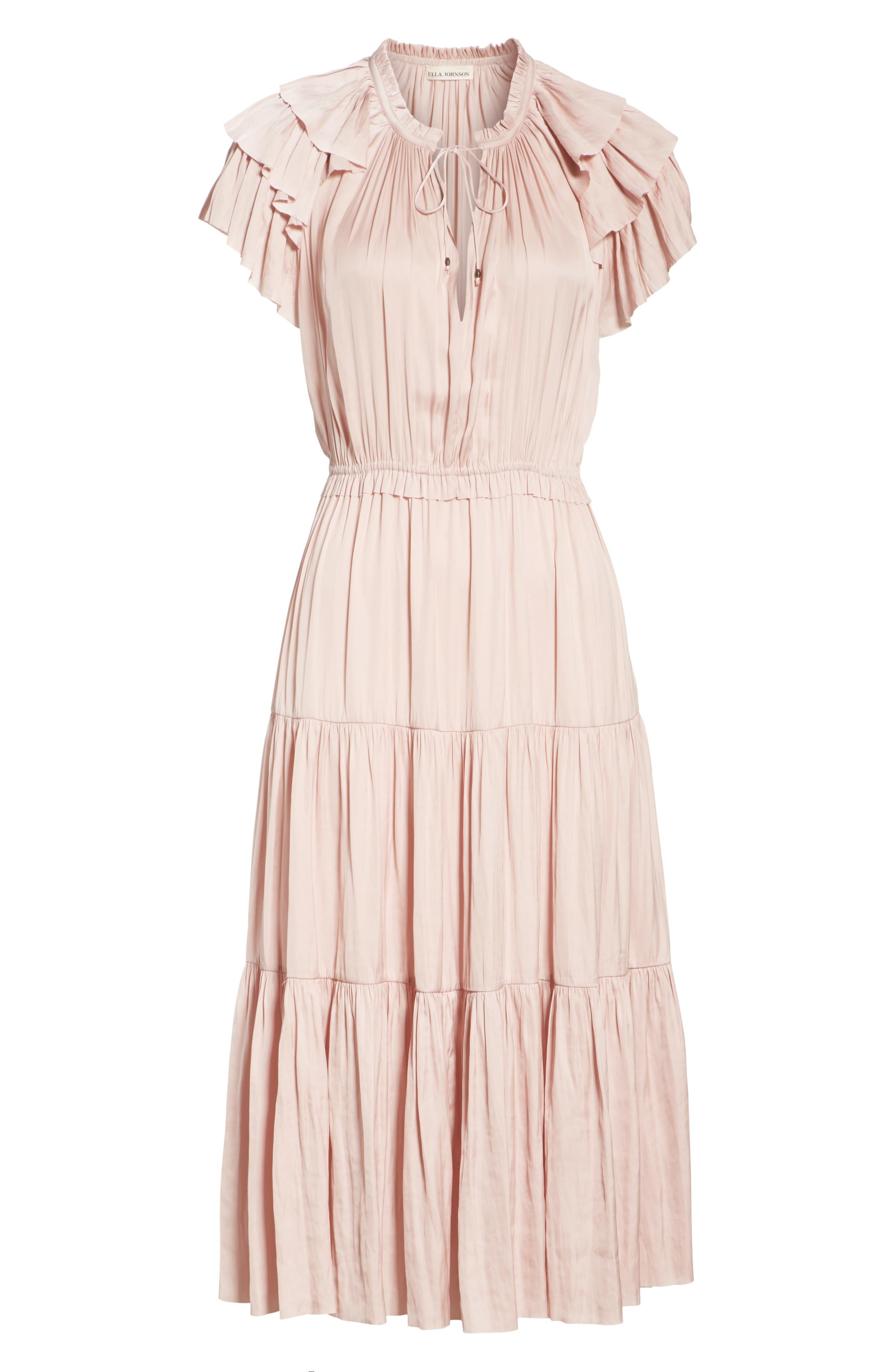 ULLA JOHNSON,                             Blaire Satin Dress,                             Alternate thumbnail 6, color,                             600