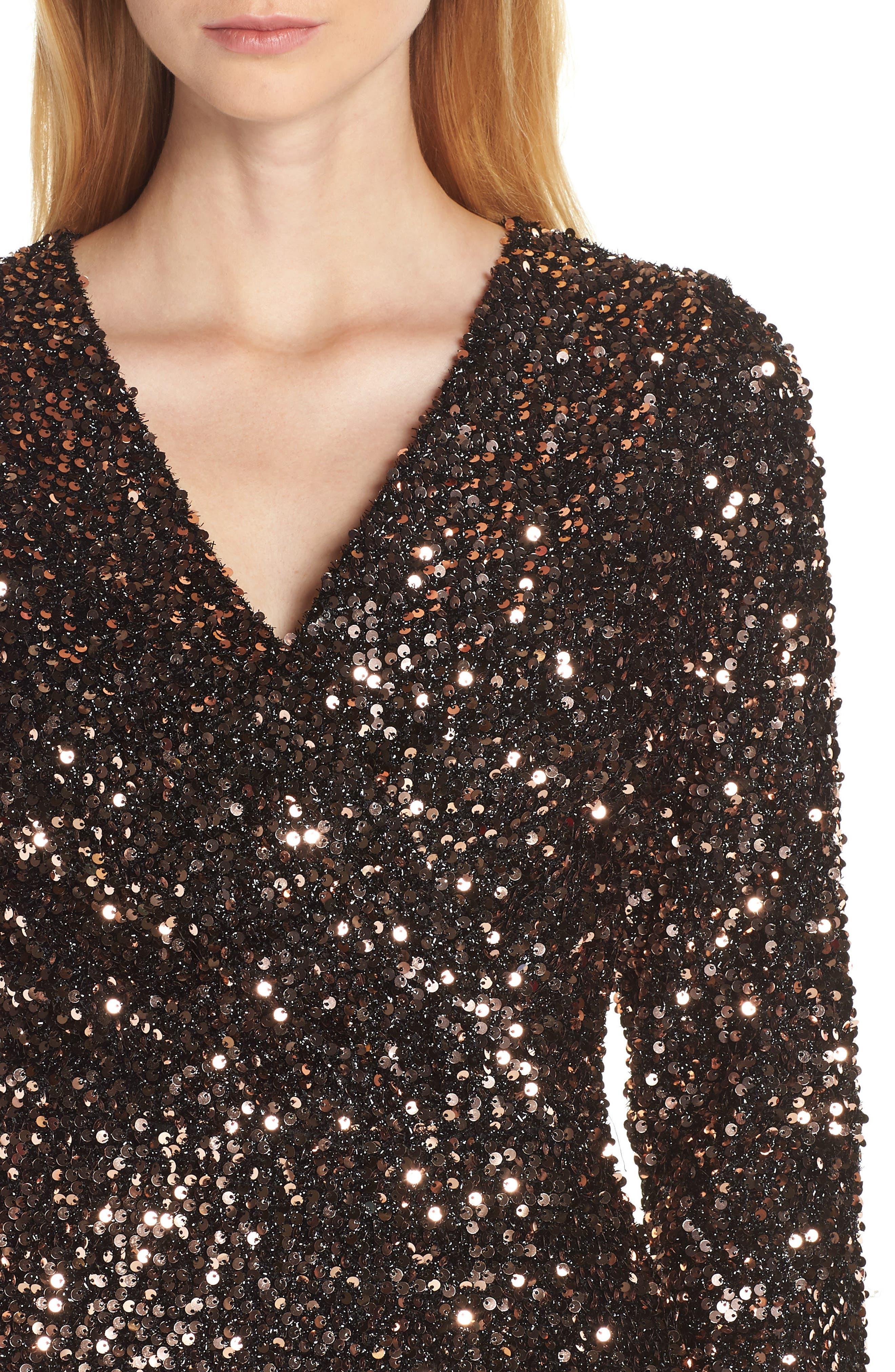 Sequin Sheath Dress,                             Alternate thumbnail 4, color,                             BRONZE