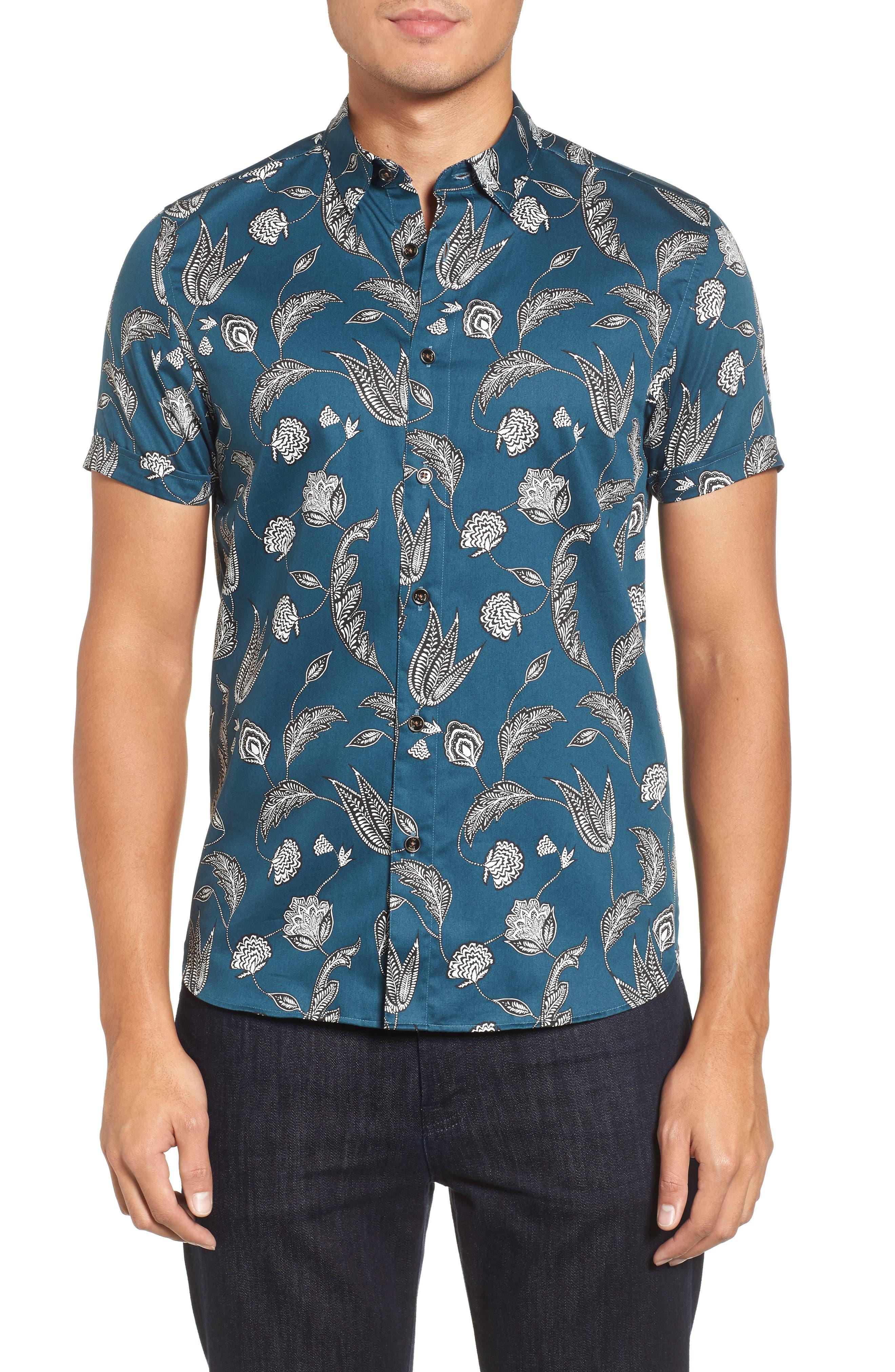 UTKU Floral Sport Shirt,                         Main,                         color,