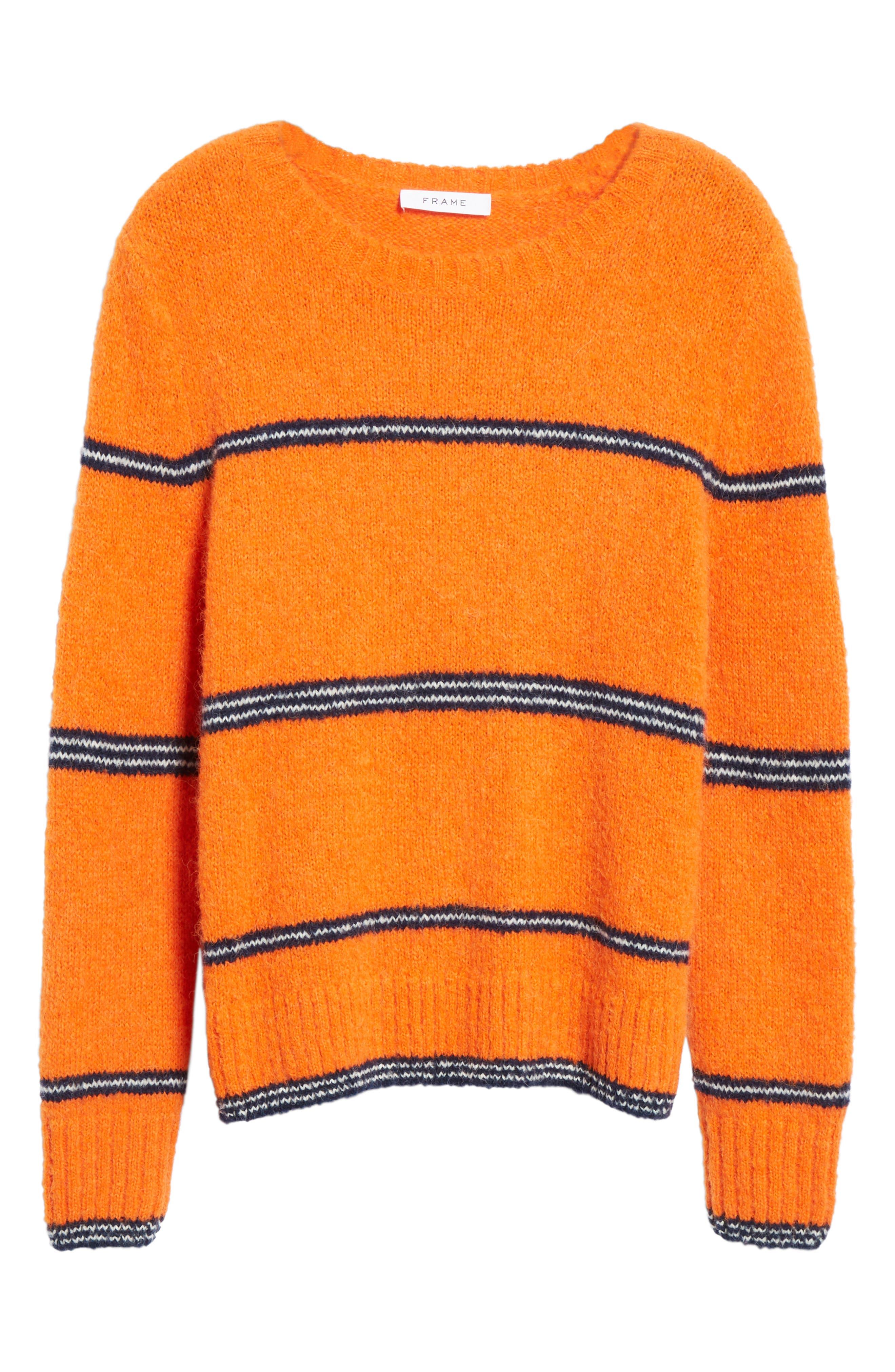 FRAME,                             Stripe Sweater,                             Alternate thumbnail 6, color,                             PERSIMMON MULTI