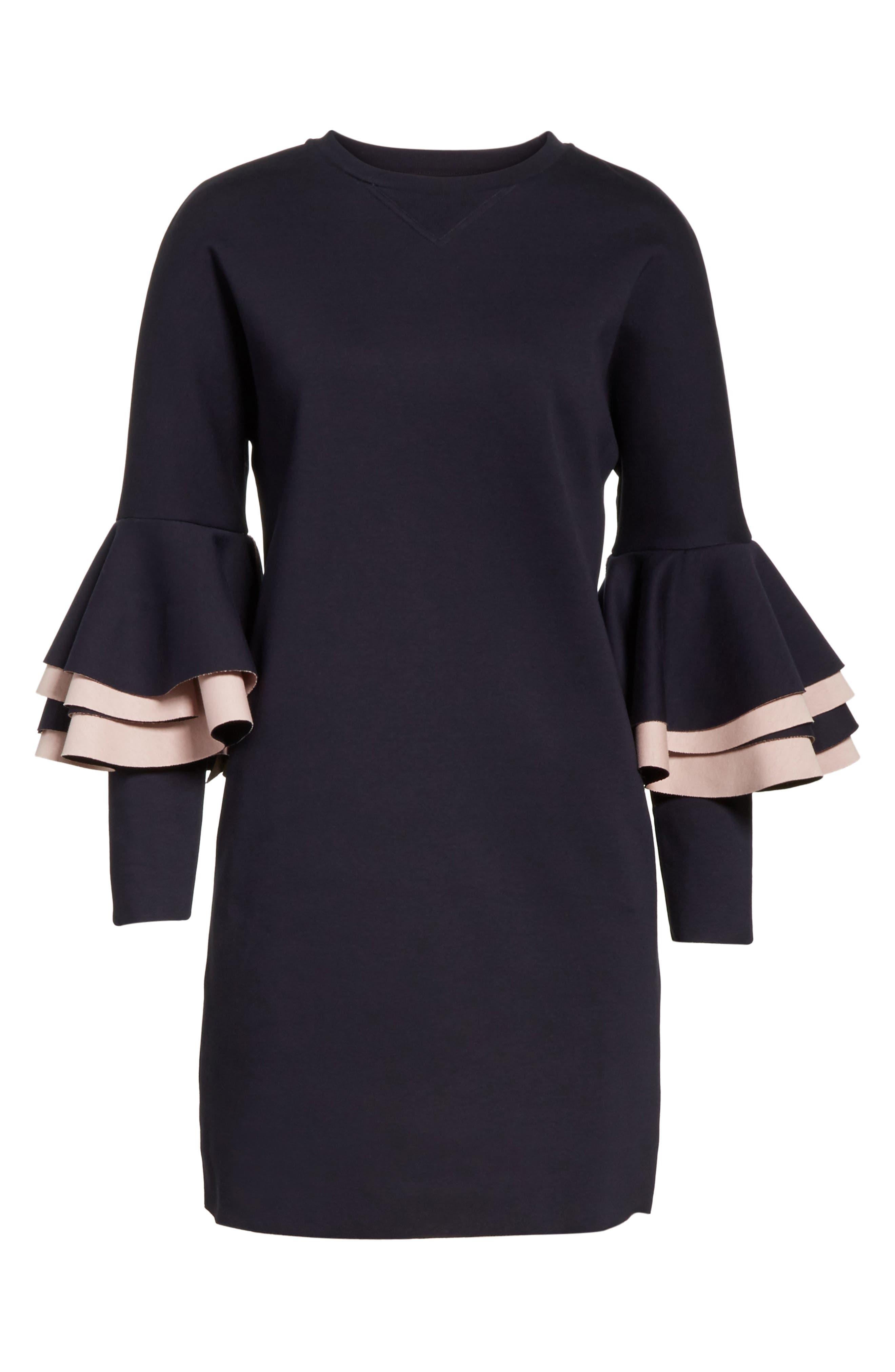 Chloae Frill Sleeve Sweatshirt Dress,                             Alternate thumbnail 6, color,                             410