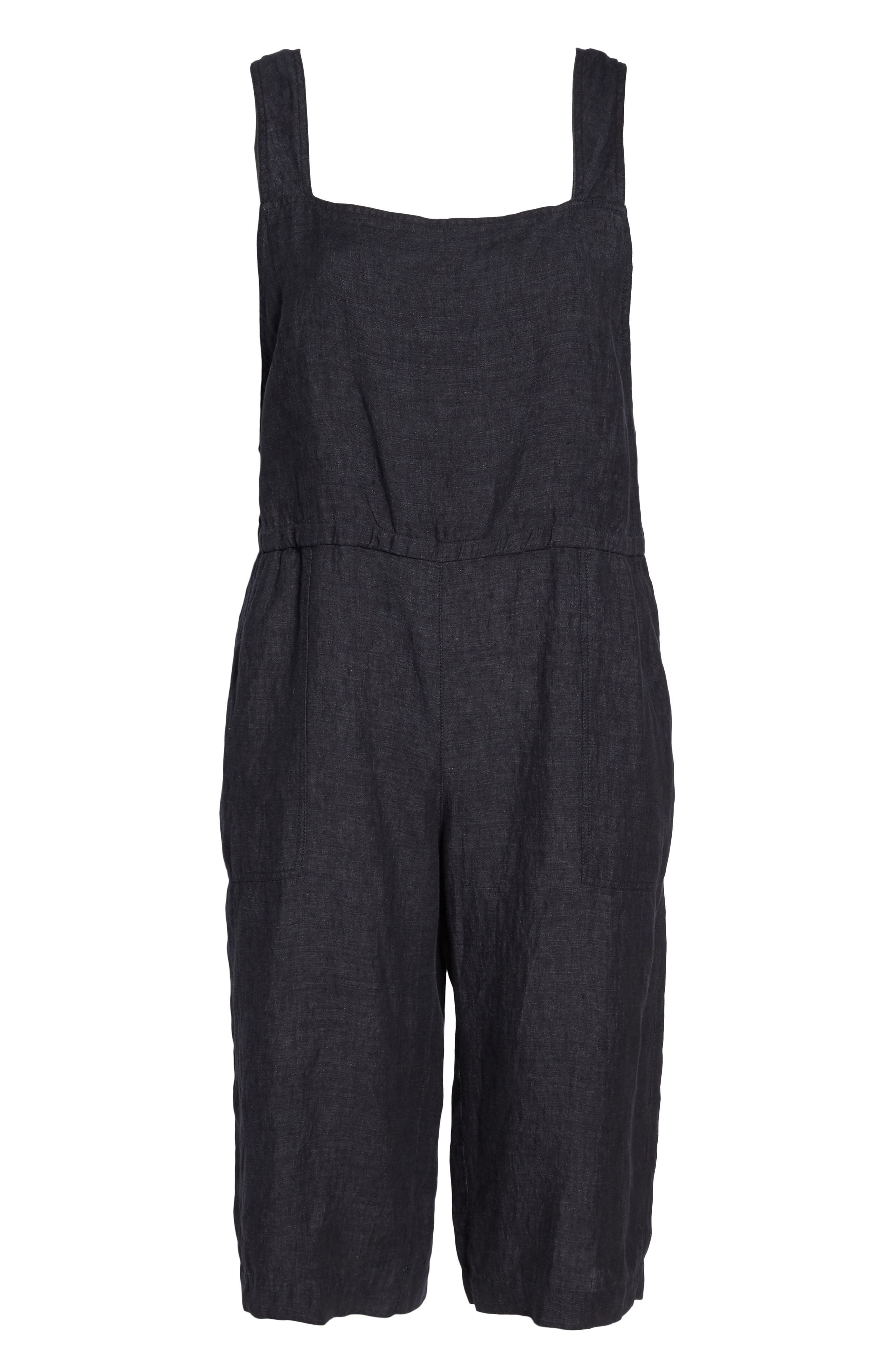 Wide Crop Linen Overalls,                             Alternate thumbnail 6, color,
