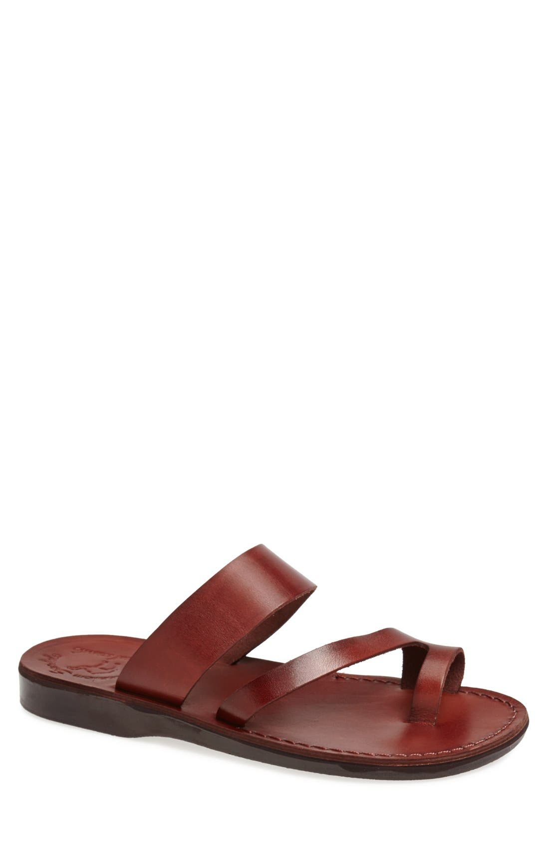 'Zohar' Leather Sandal,                             Main thumbnail 1, color,                             BROWN