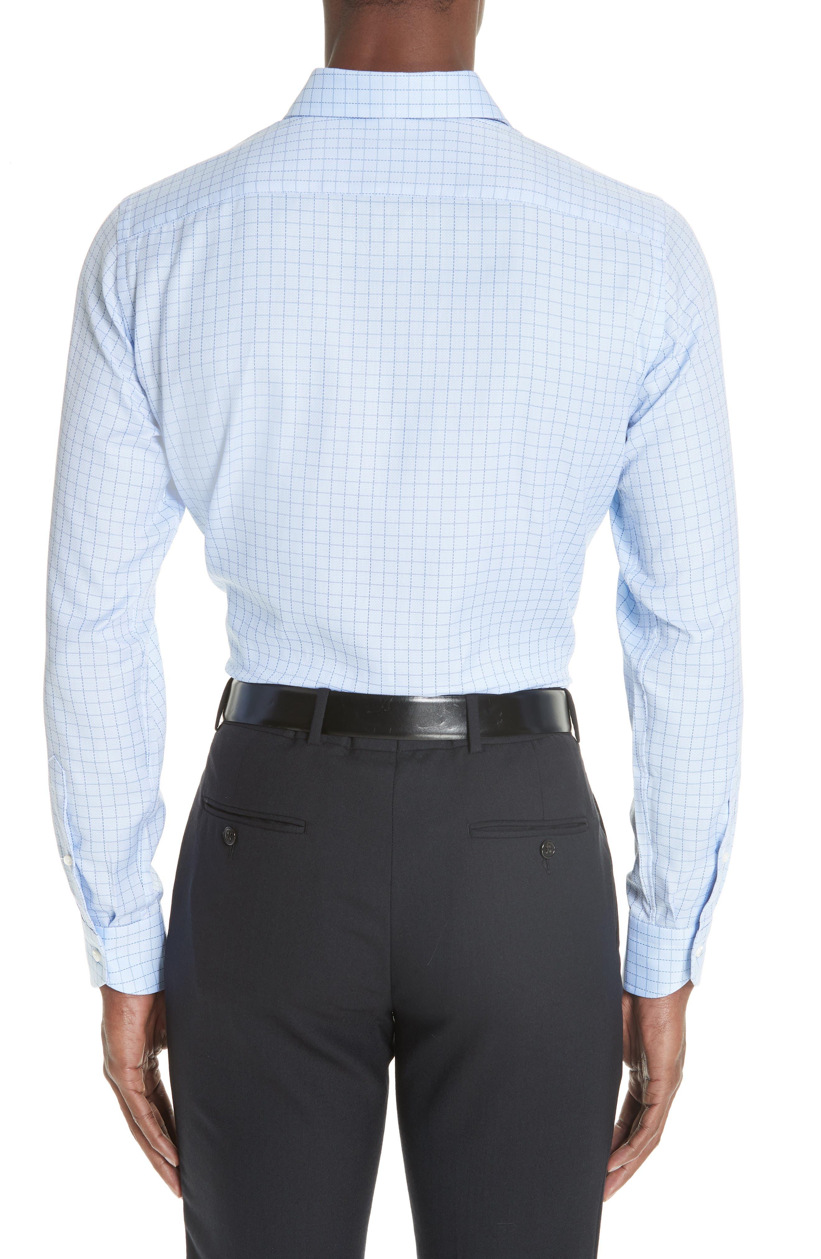 Trim Fit Check Dress Shirt,                             Alternate thumbnail 3, color,                             LIGHT BLUE