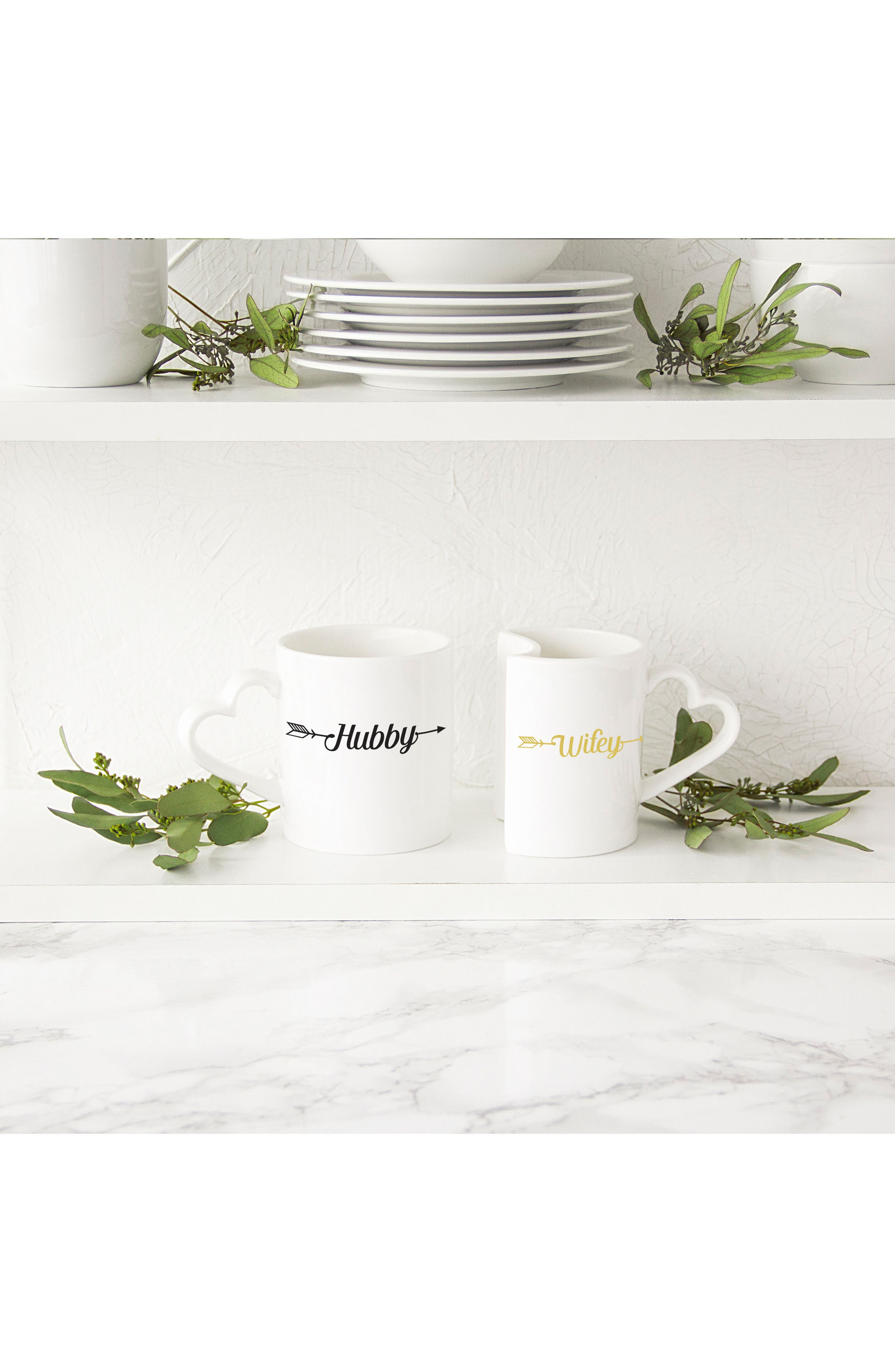 Hubby/Wifey Set of 2 Coffee Mugs,                             Alternate thumbnail 6, color,                             100