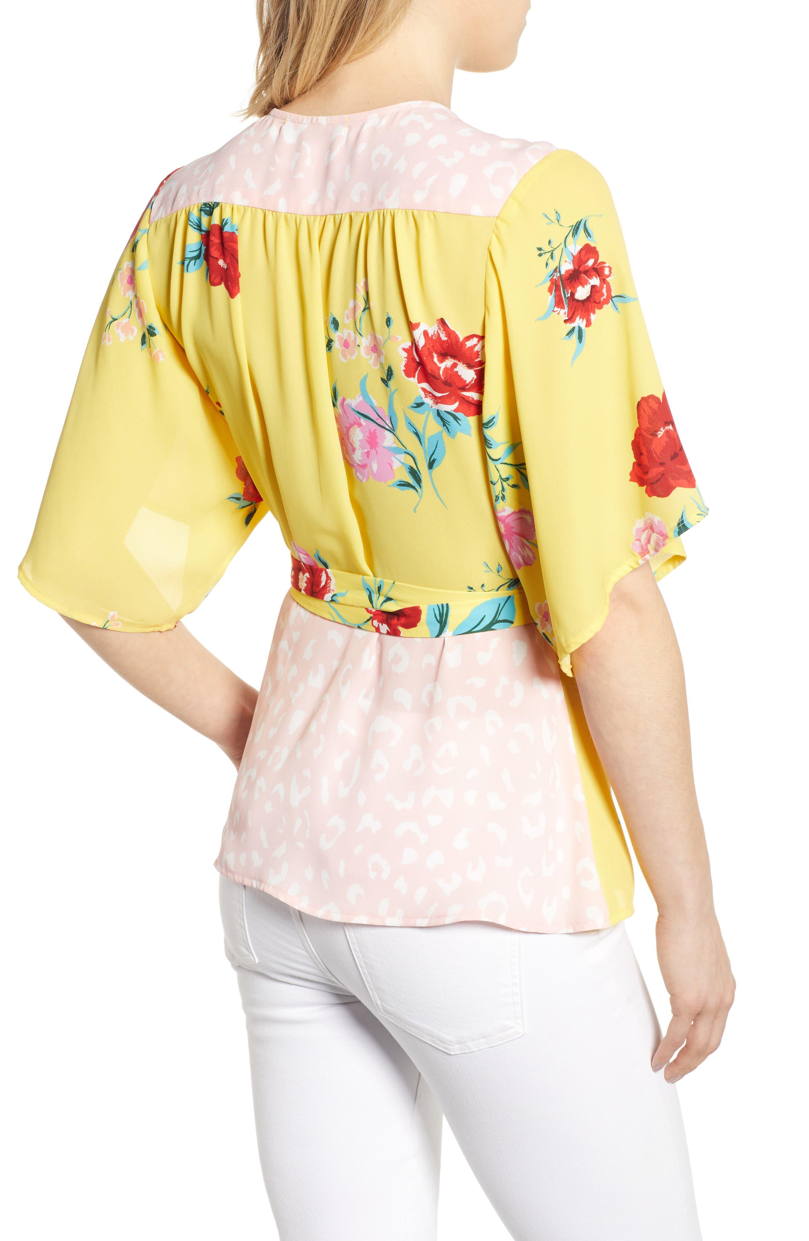 GIBSON,                             x International Women's Day Mindy Kimono Sleeve Wrap Blouse,                             Alternate thumbnail 2, color,                             VIRGINIA BLOOM