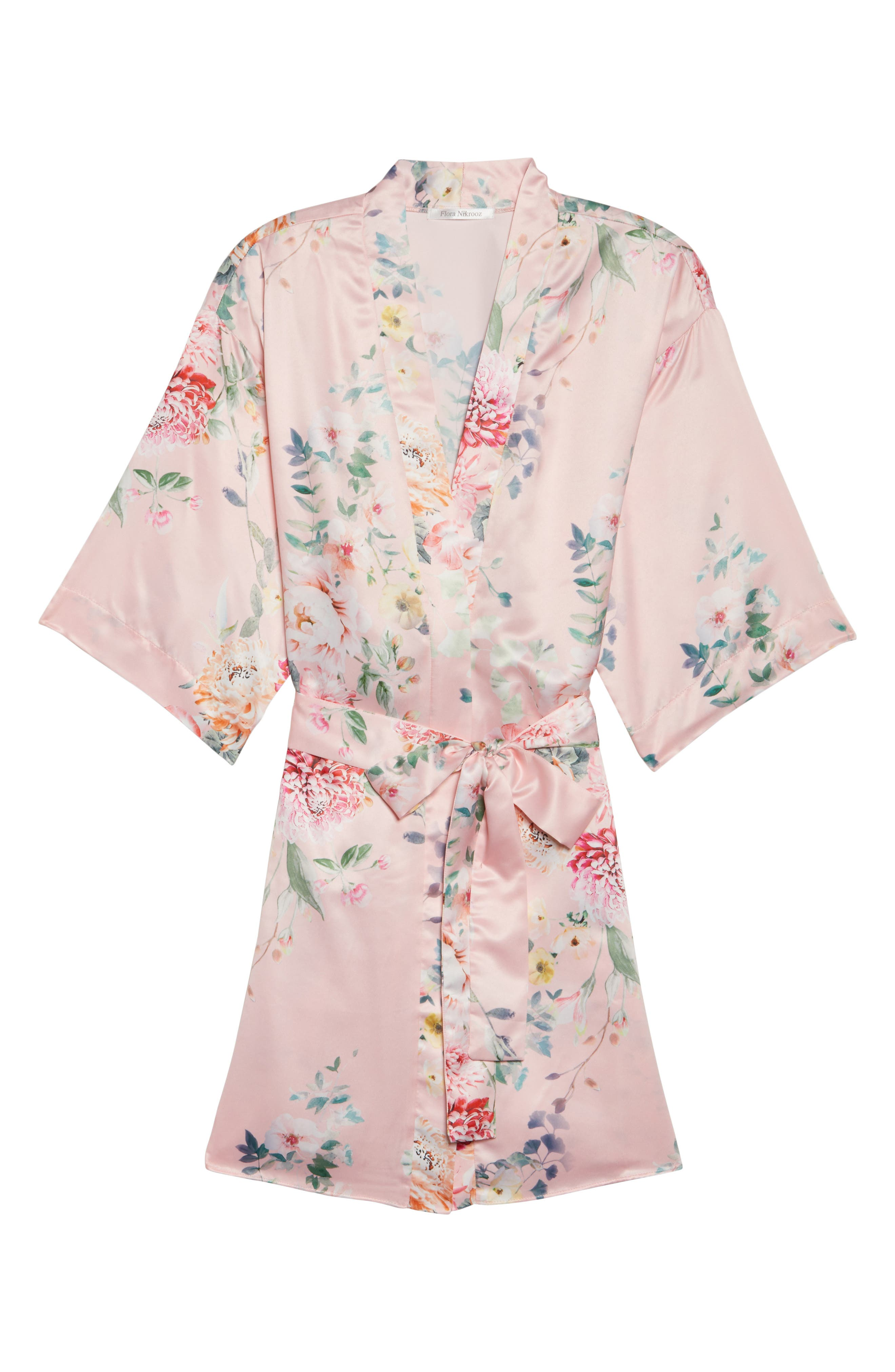 Renata Short Satin Robe,                             Alternate thumbnail 23, color,