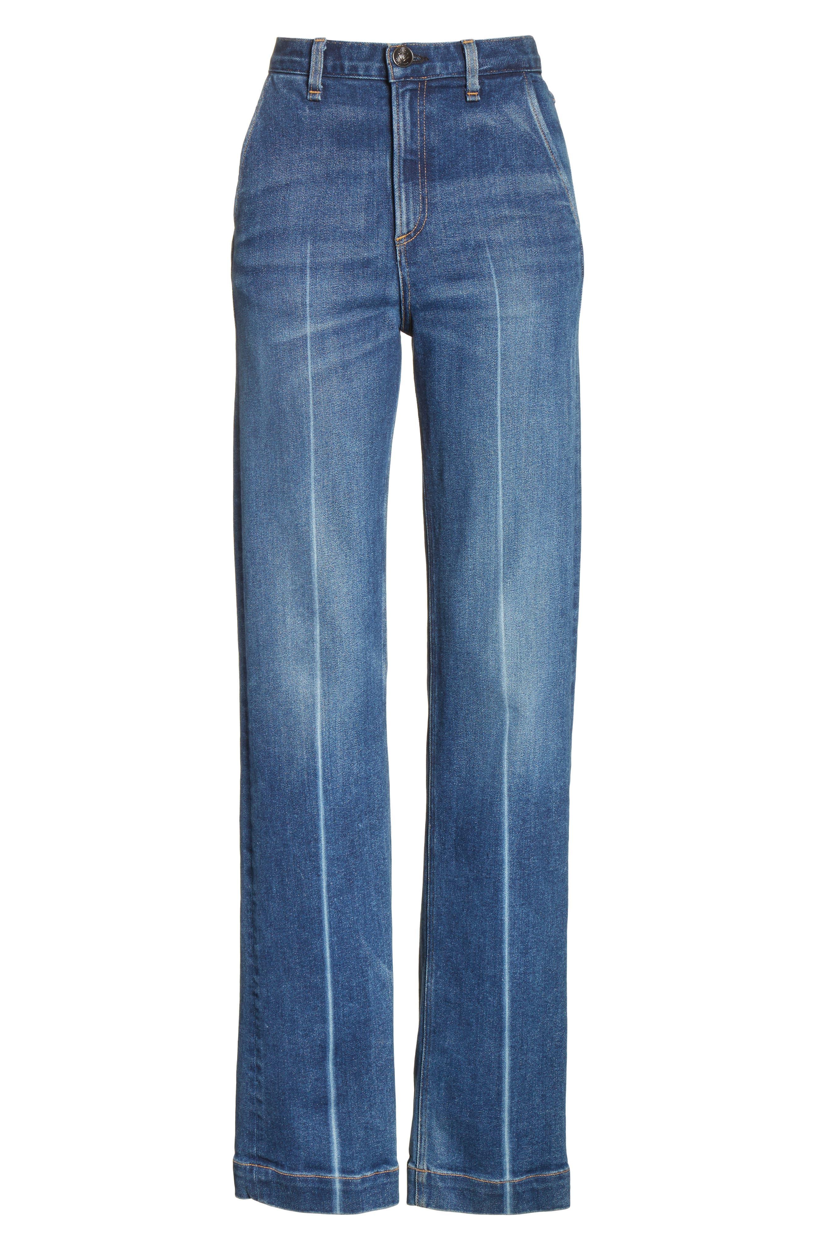 Justine High Waist Trouser Jeans,                             Alternate thumbnail 6, color,                             462